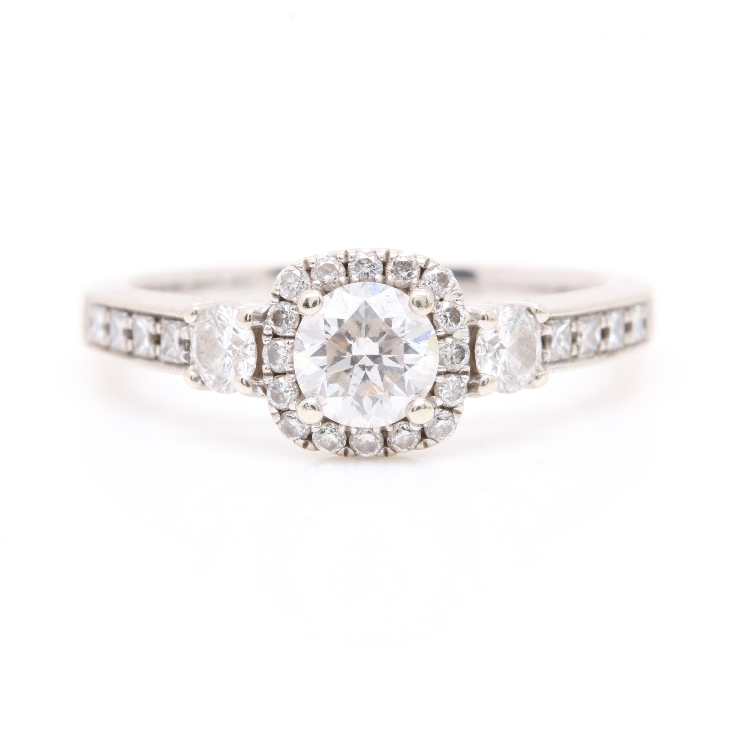 14K White Gold 0.92 CTW Diamond Ring