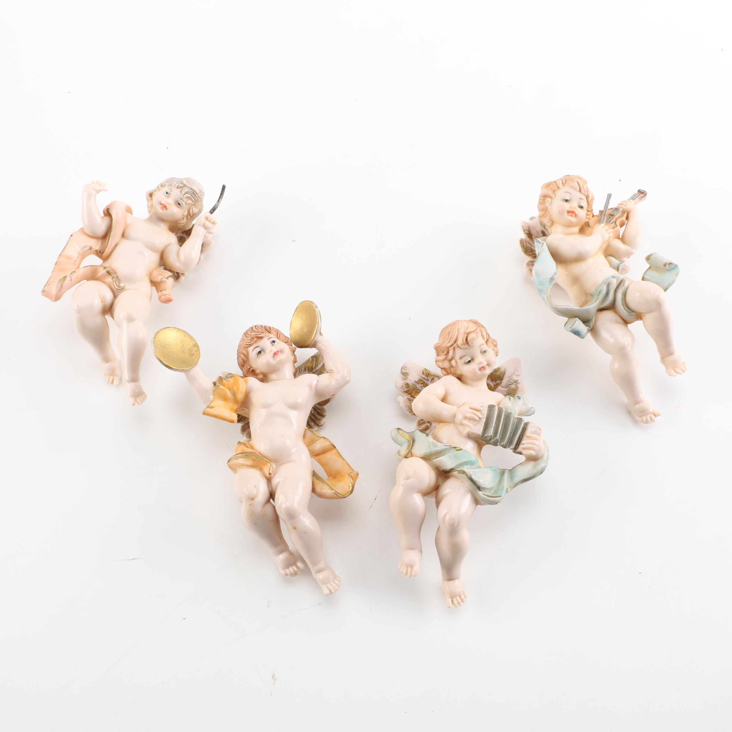 Porcelain Angel Figurines Playing Musical Instruments