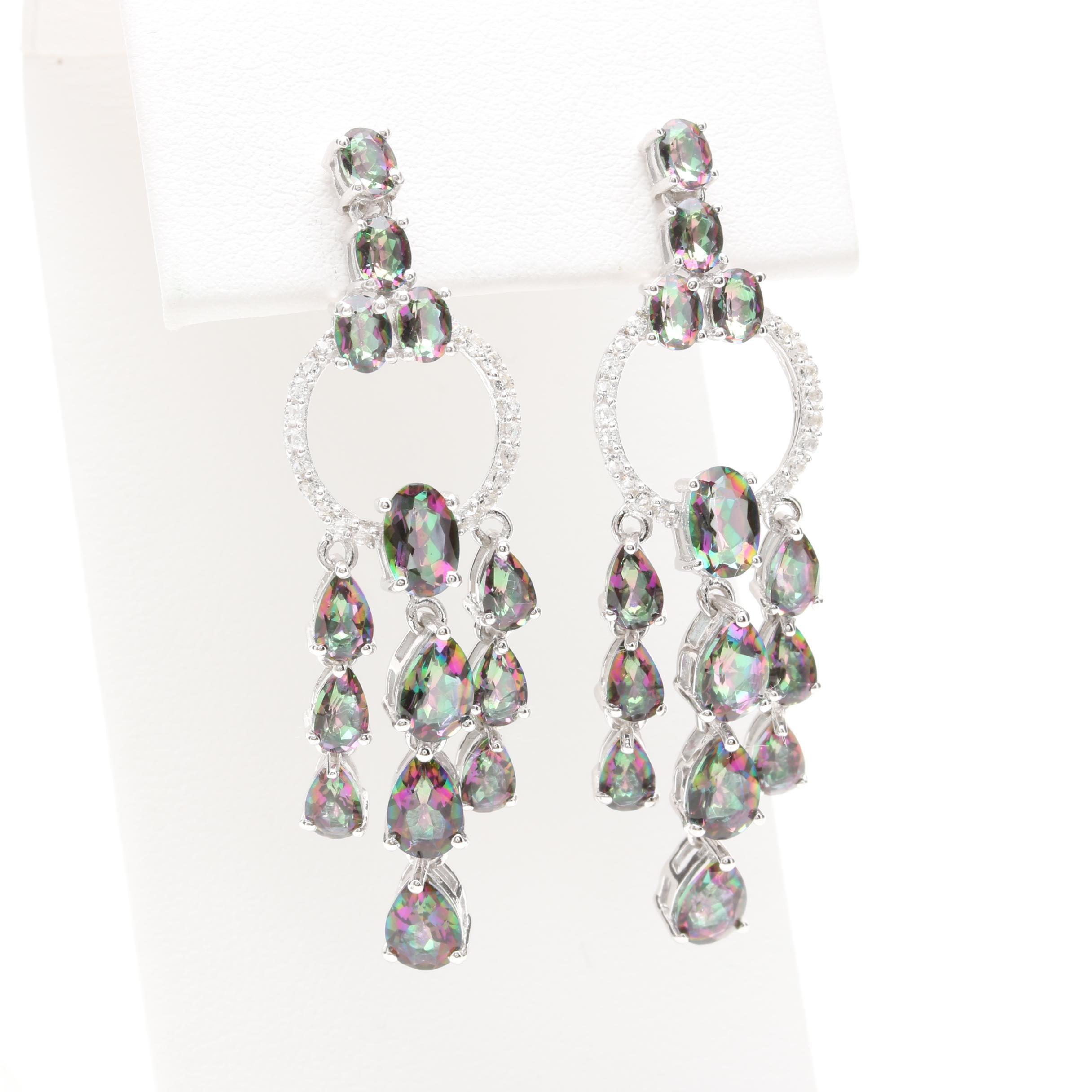 Sterling Silver Mystic Quartz and White Topaz Girandole Earrings