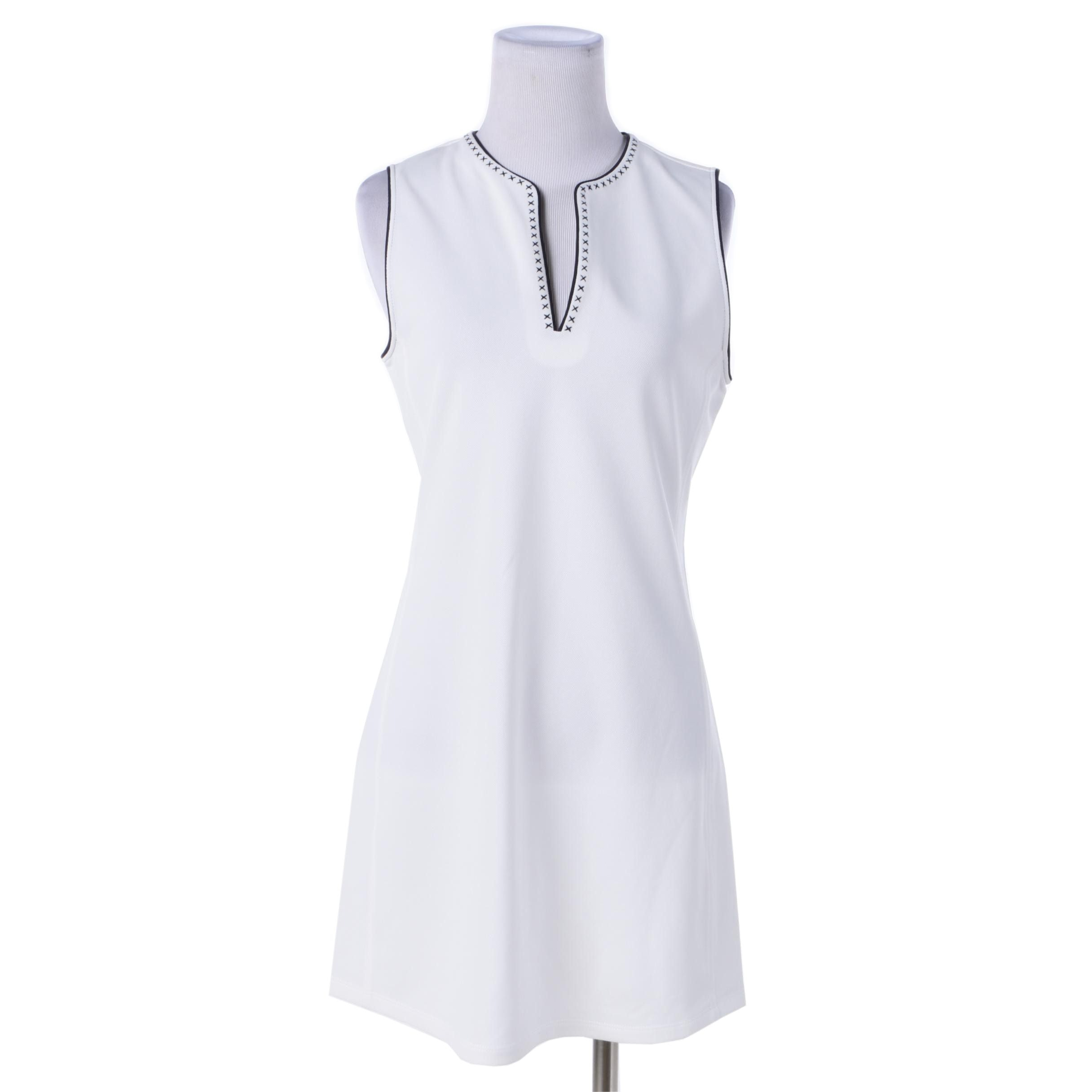 Tory Sport White Cross-Stitch Sleeveless Dress