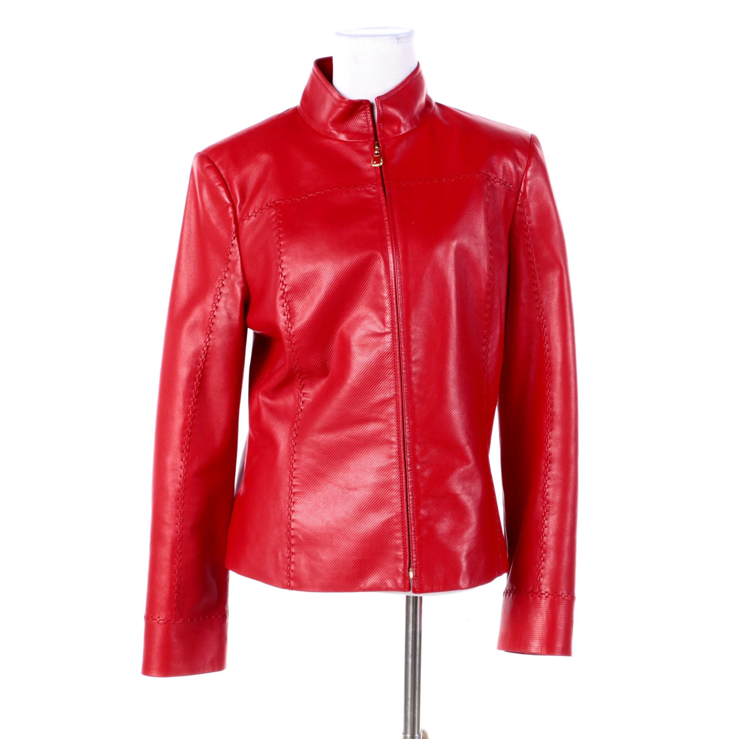 Women's St. John Collection Red Lambskin Leather Jacket
