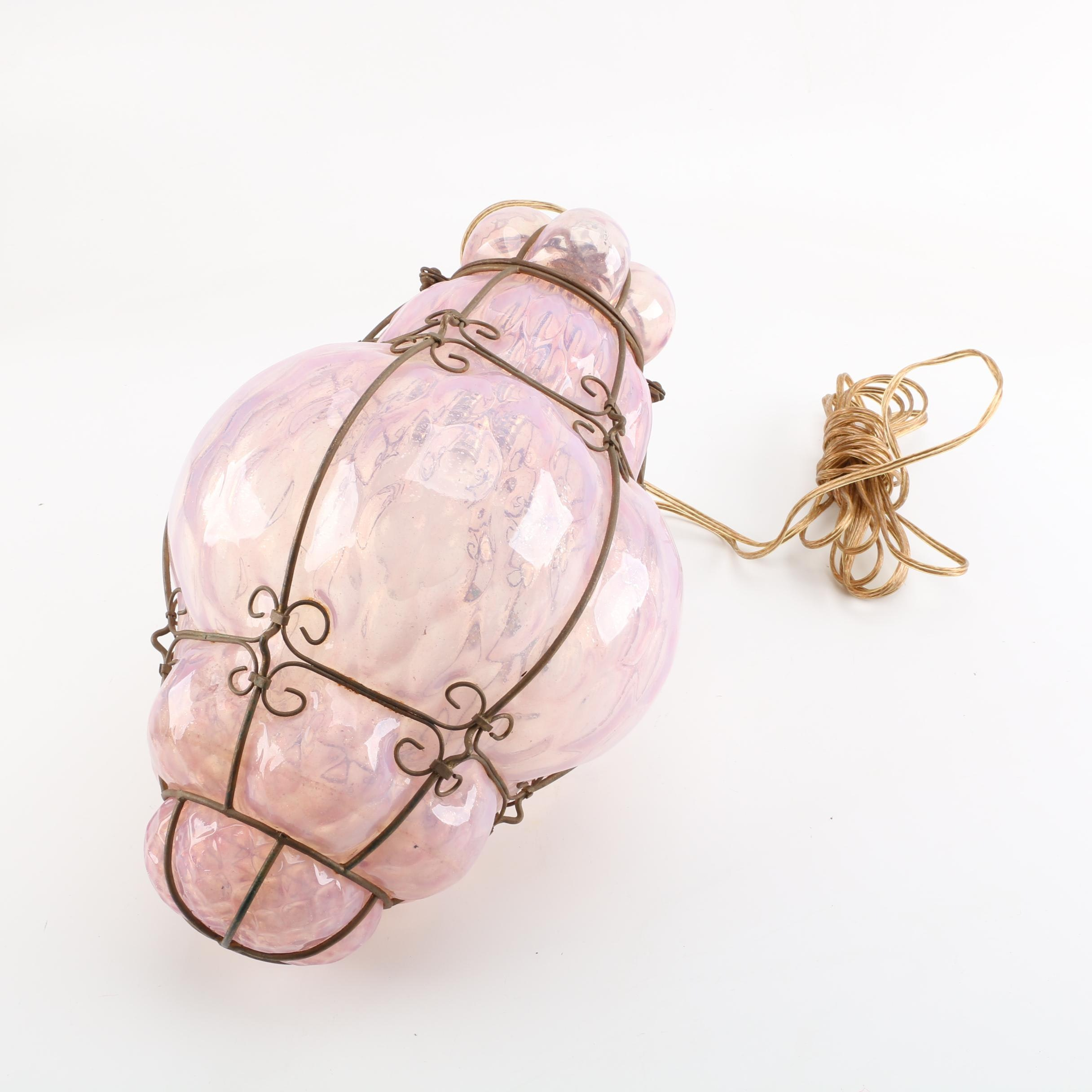 Iridescent Pink Blown Glass and Metal Pendant Light