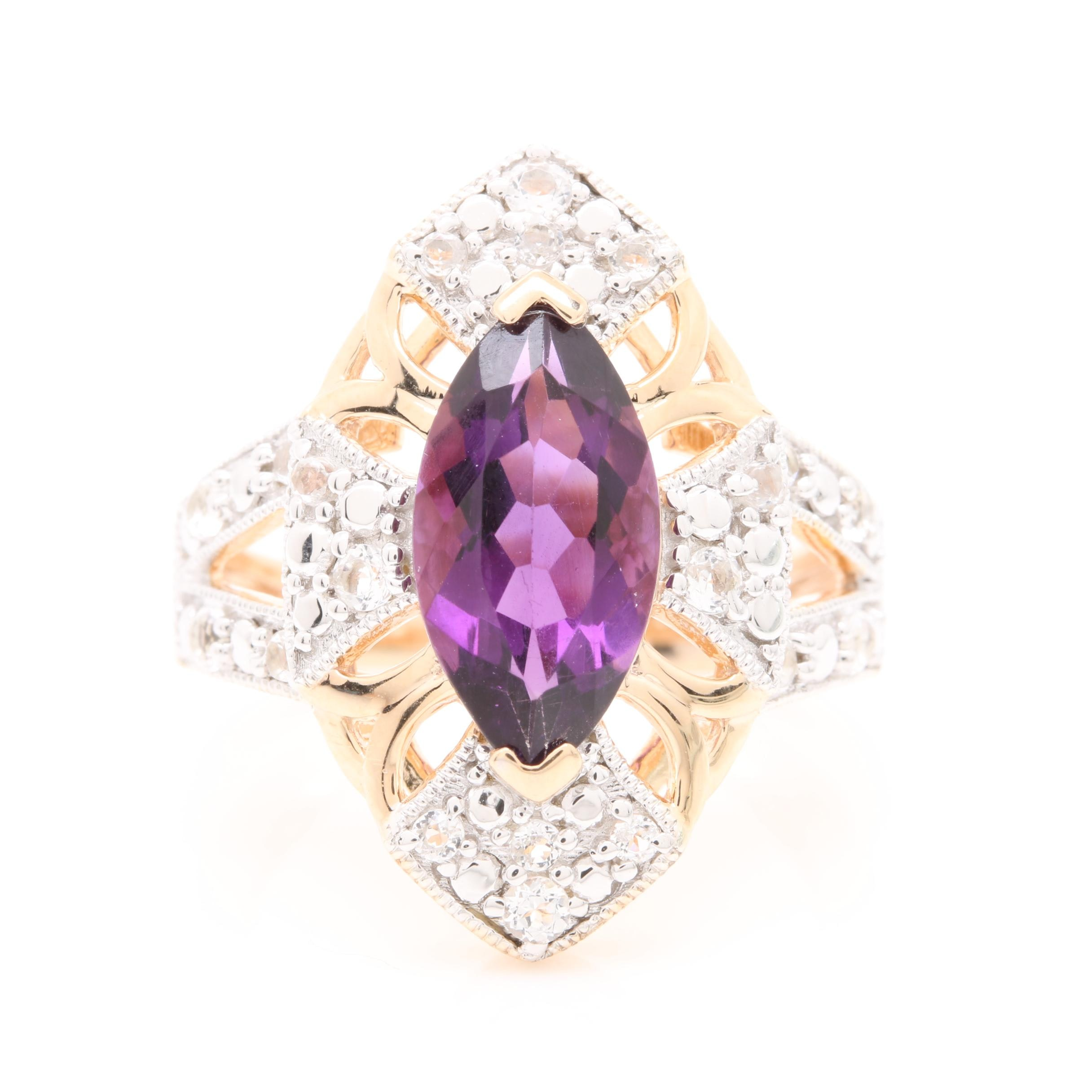 Gold Wash on Sterling Silver Amethyst and White Topaz Ring