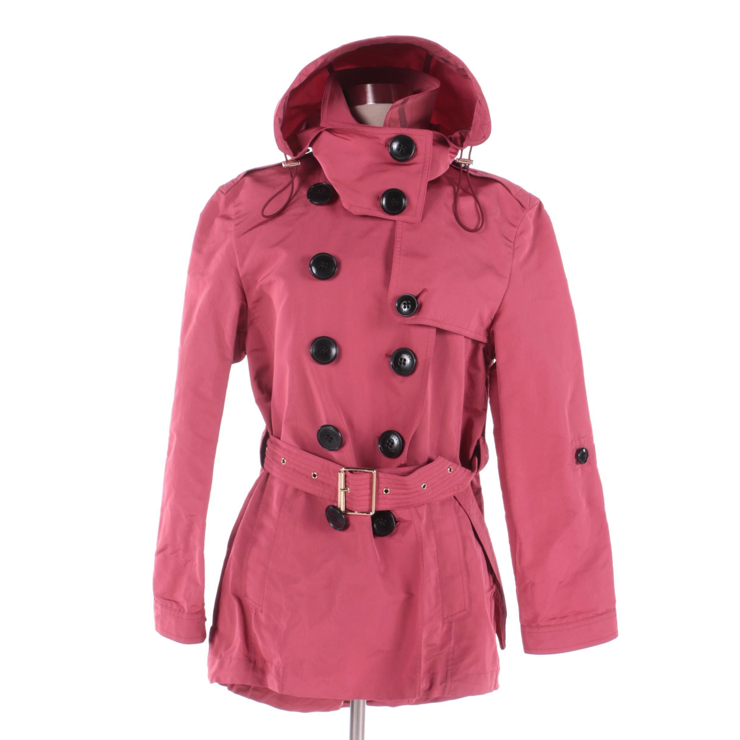 Women's Burberry Brit Red Double-Breasted Hooded Trench Coat