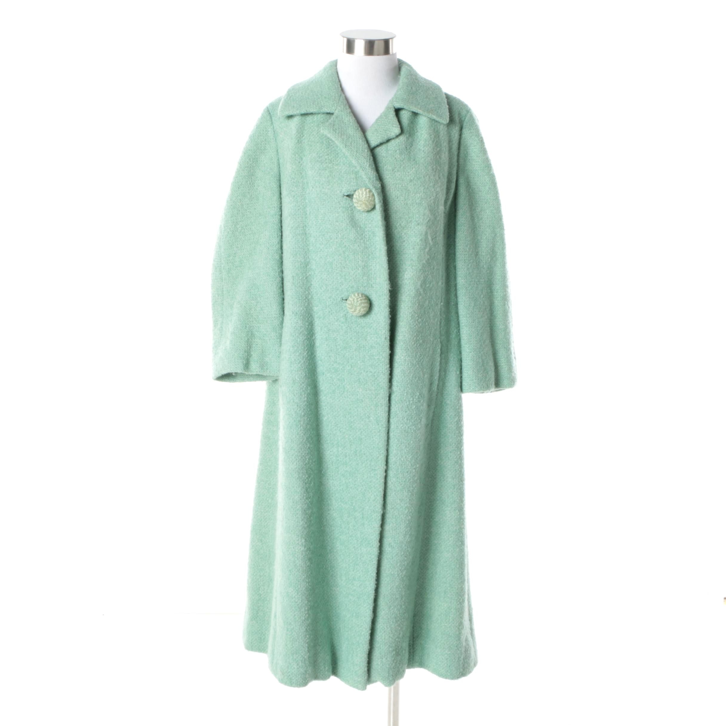 Vintage Woodward & Lothrop Mint Green Wool Dress Coat