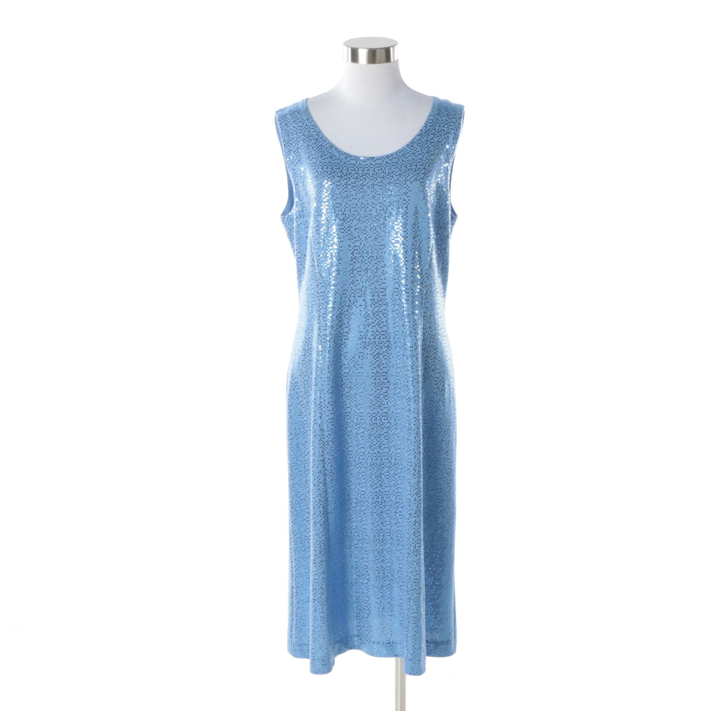 St. John Evening Blue Knit Glitter Dot Sleeveless Dress