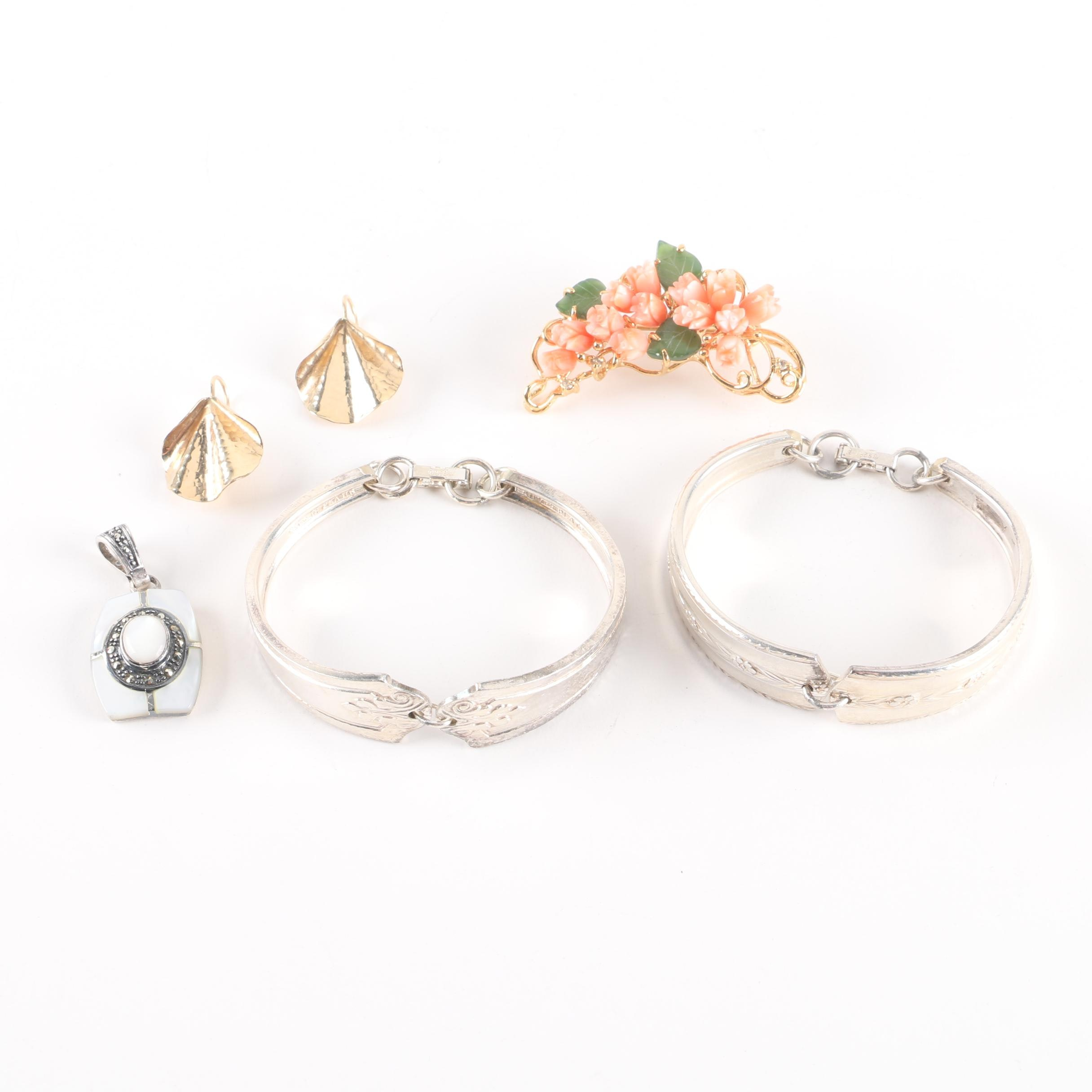 Gold and Silver Tone Gemstone Jewelry Assortment Including Sterling Silver