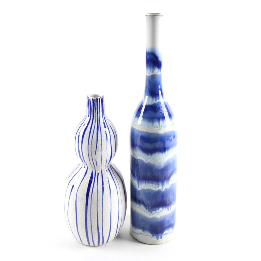 Over-Sized Blue and White Ceramic Vases