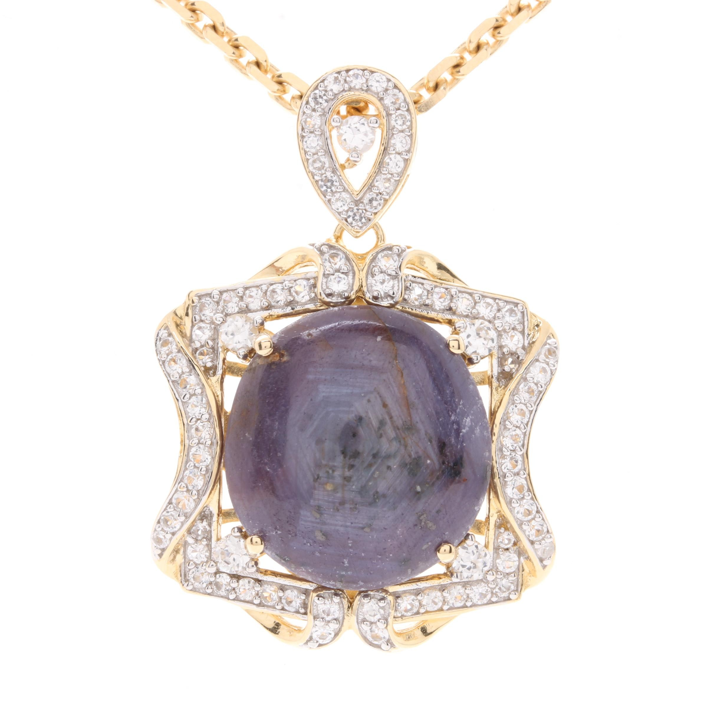 Gold Wash on Sterling Silver 33.19 CT Star Corundum and White Sapphire Necklace