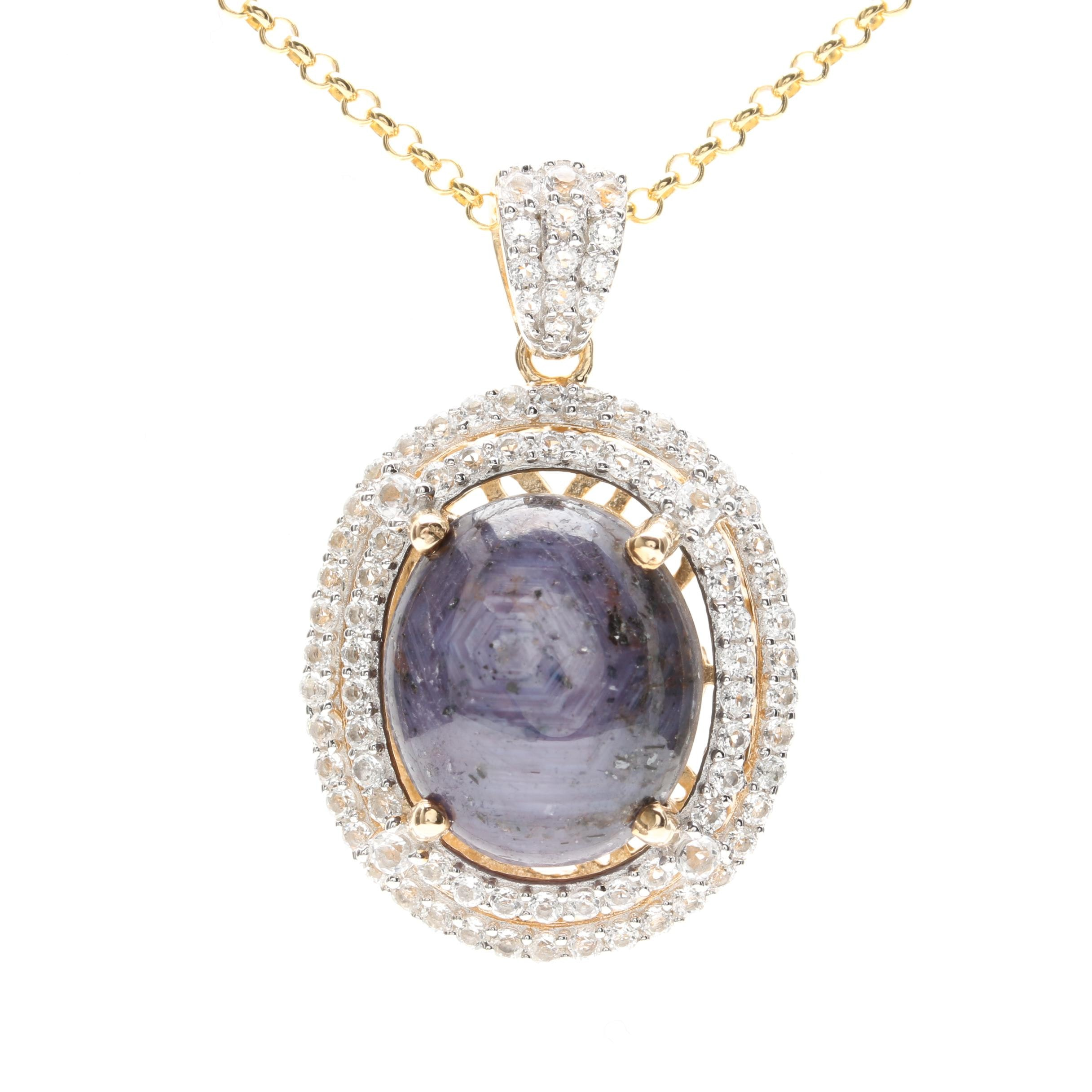 Gold Wash on Sterling Silver Star Sapphire and White Topaz Pendant Necklace