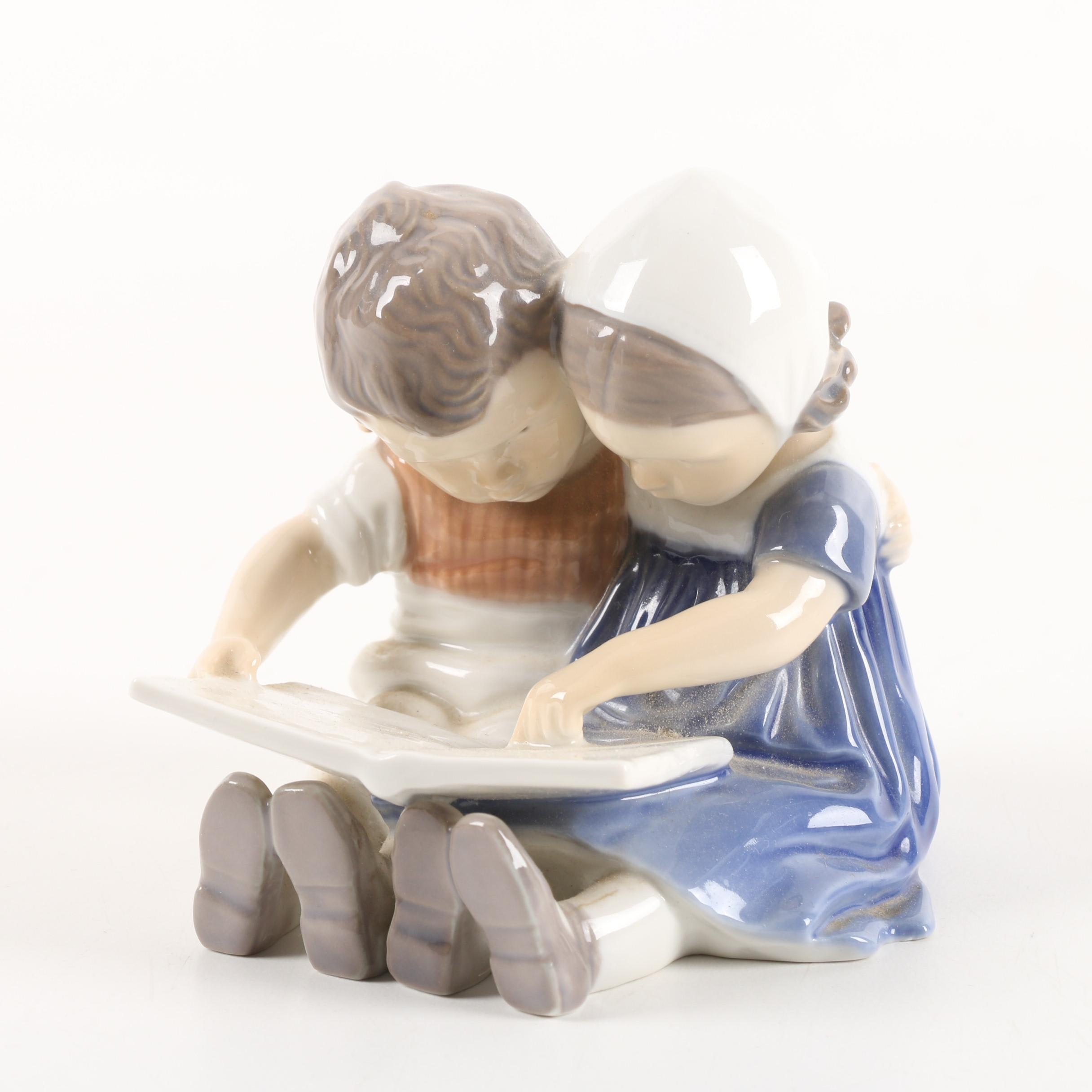 "Danish Bing & Grøndahl ""Children Reading"" Figurine"