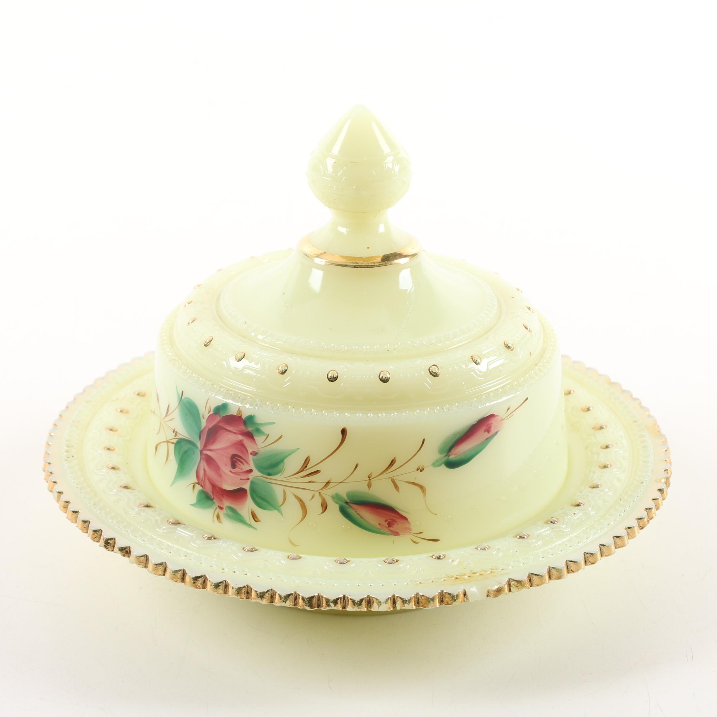 "Heisey ""Ring Band Custard Floral"" Lidded Butter Dish, Circa 1900"