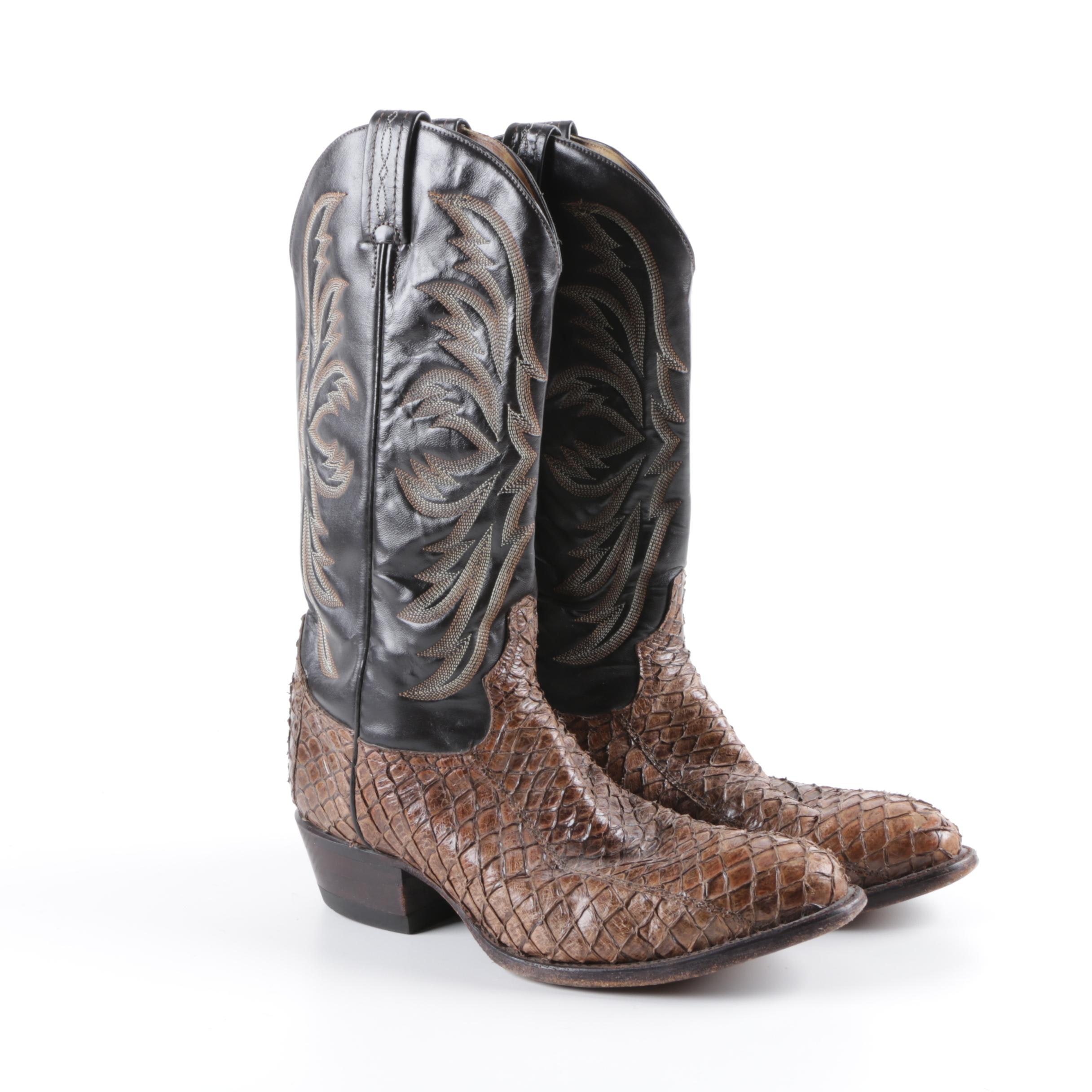 Men's Tony Lama of El Paso, Texas Leather and Snakeskin Western Boots