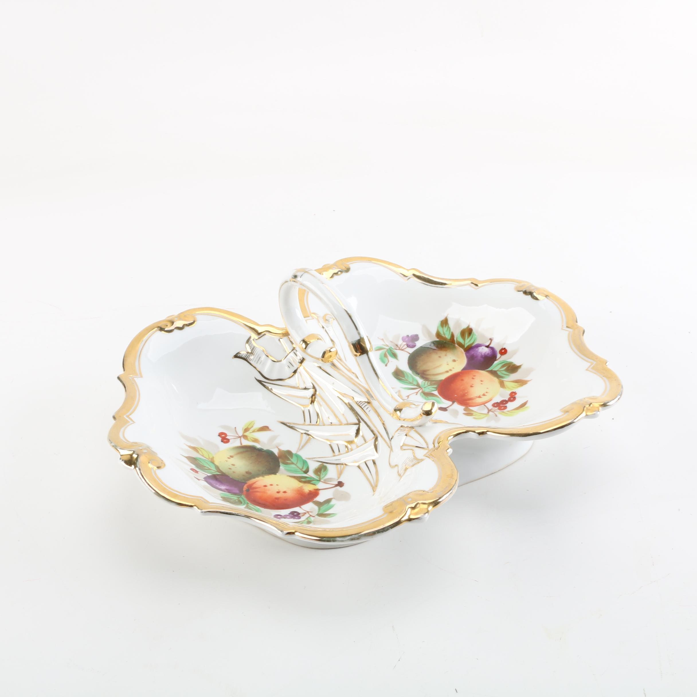 Carl Tielsch Fruit Themed Divided Porcelain Dish