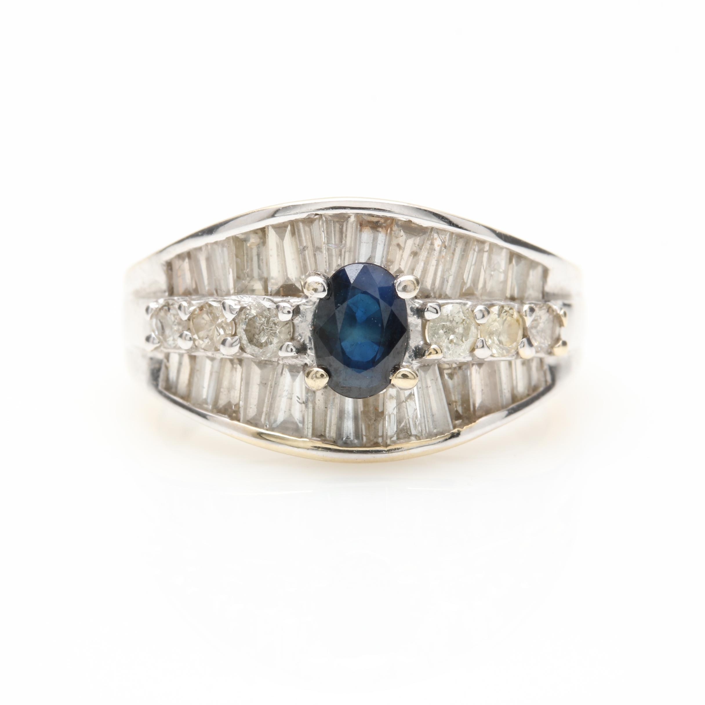 18K White Gold Blue Sapphire and Diamond Ring