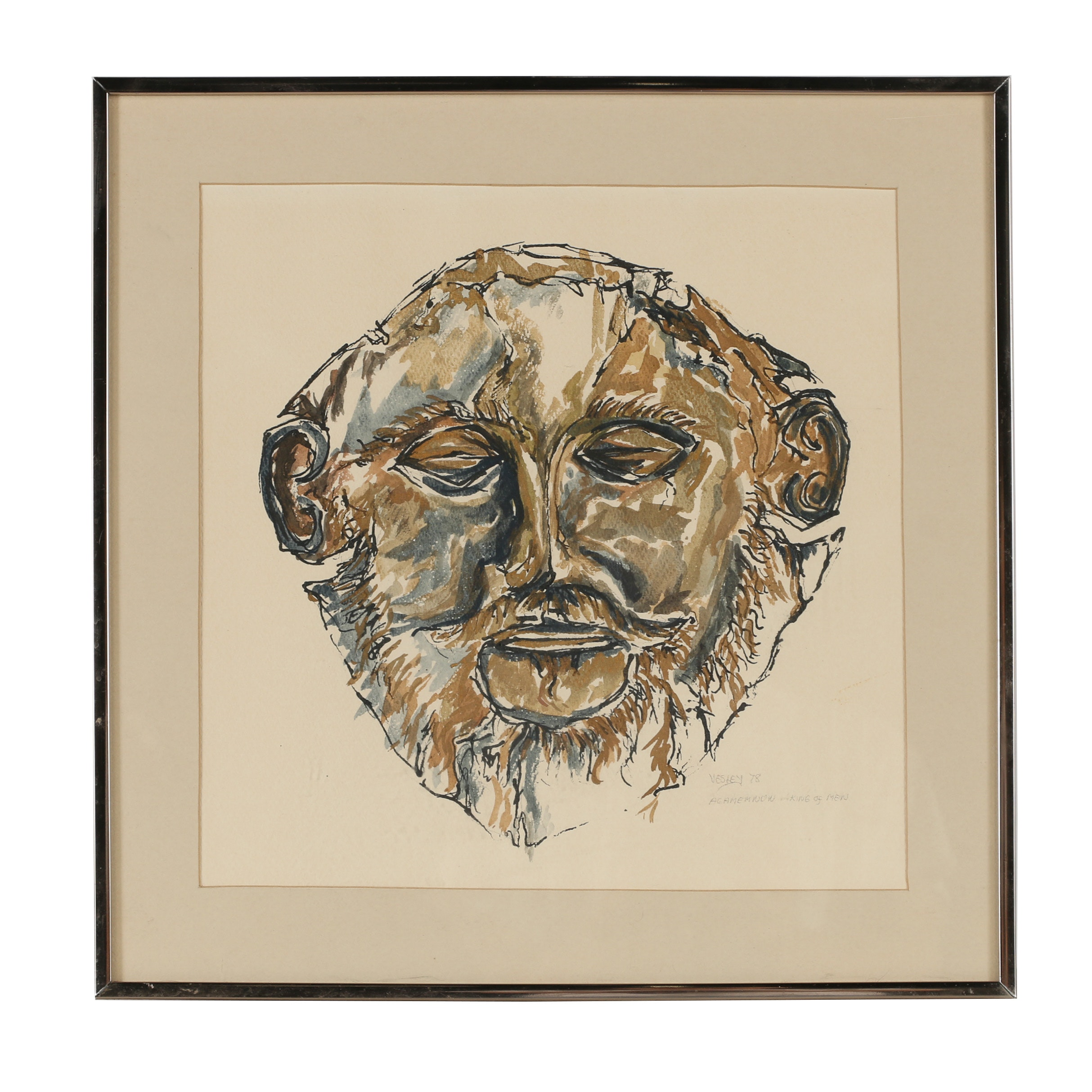 """Vesley Ink and Watercolor Painting """"Agamemnon: King of Men"""""""