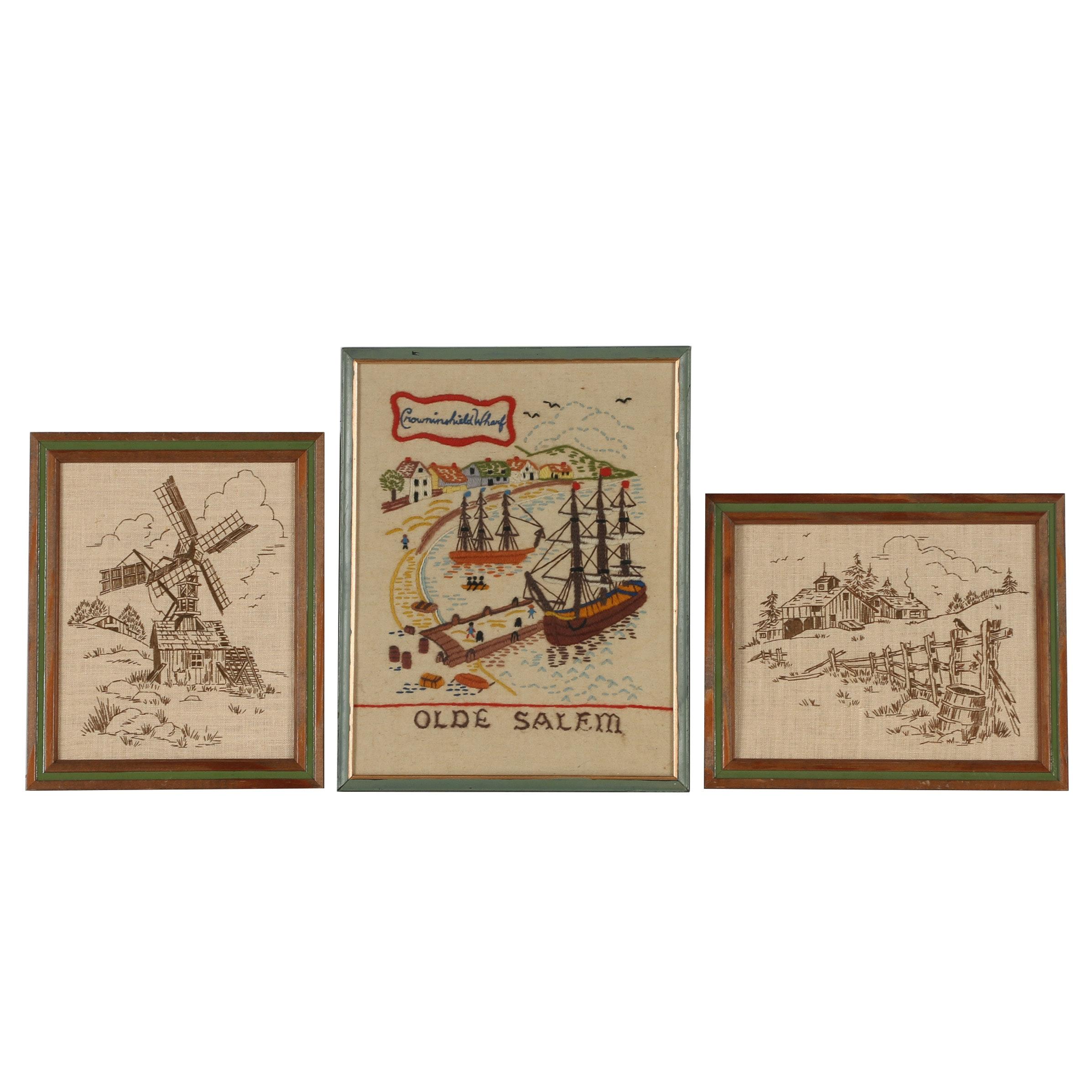 """Hand Embroidered Panels Including Folk Art Style """"Olde Salem"""""""