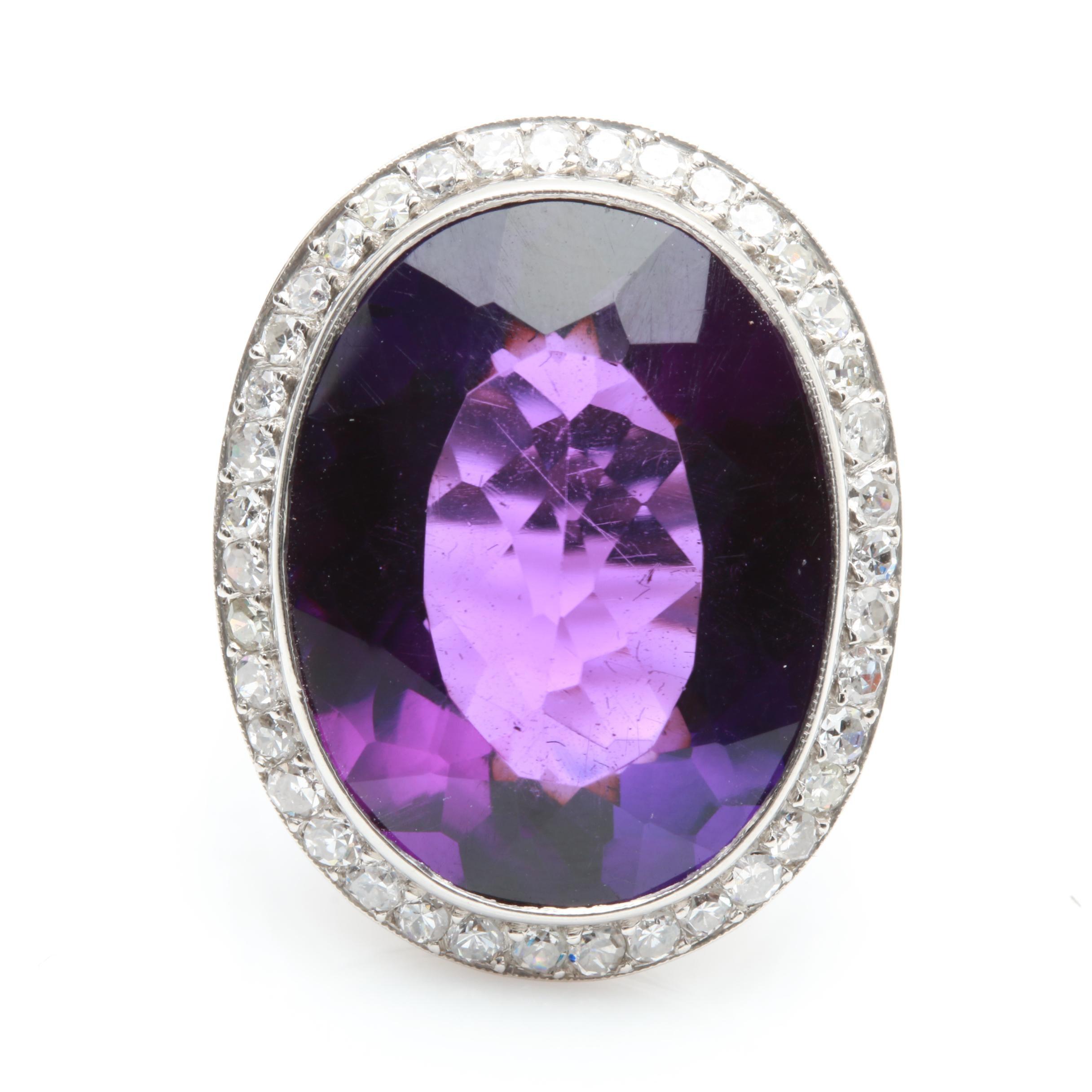 Platinum 14.76 CT Amethyst and 1.00 CTW Diamond Ring