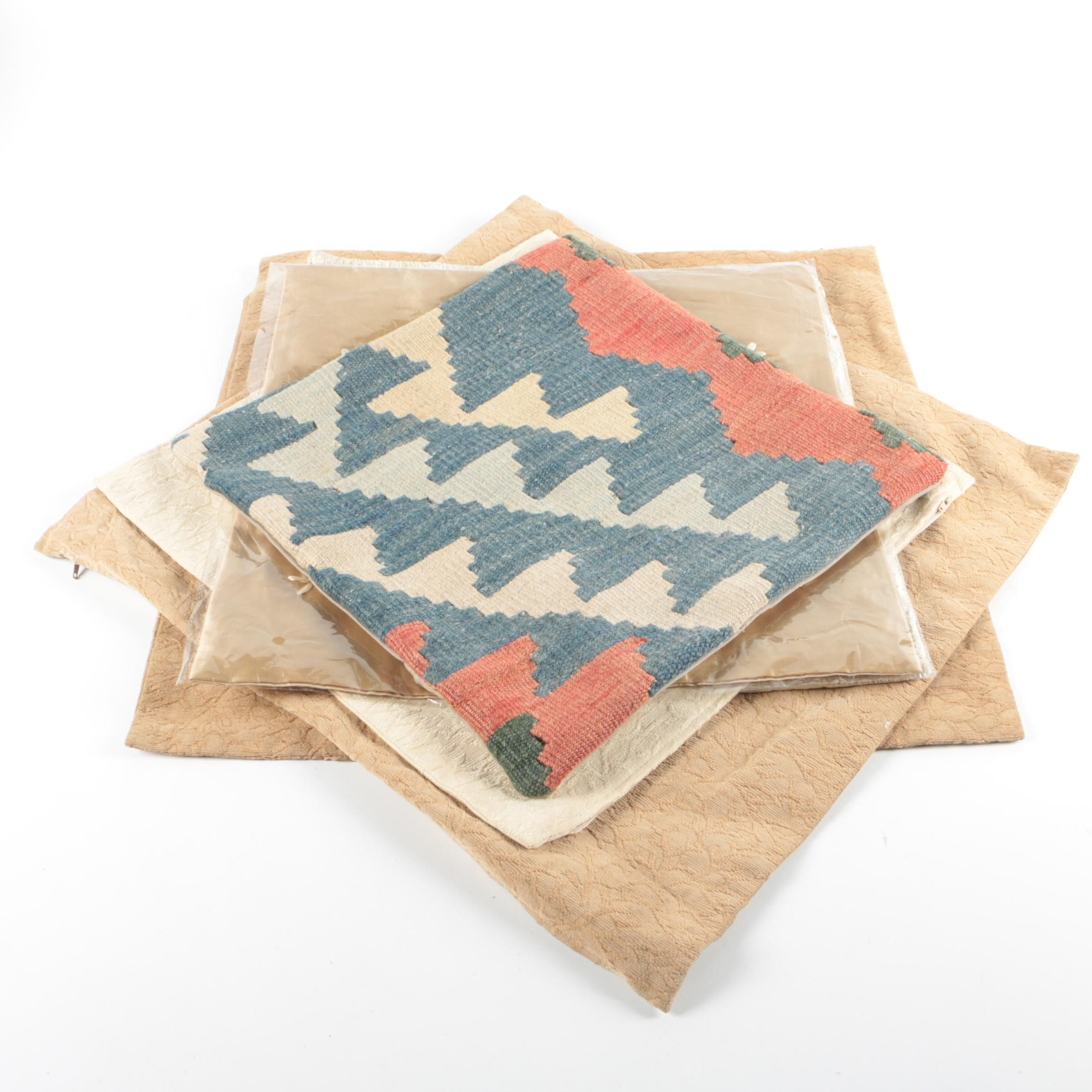 Handwoven Kilim Pillow Cover with Silk and Woven Covers