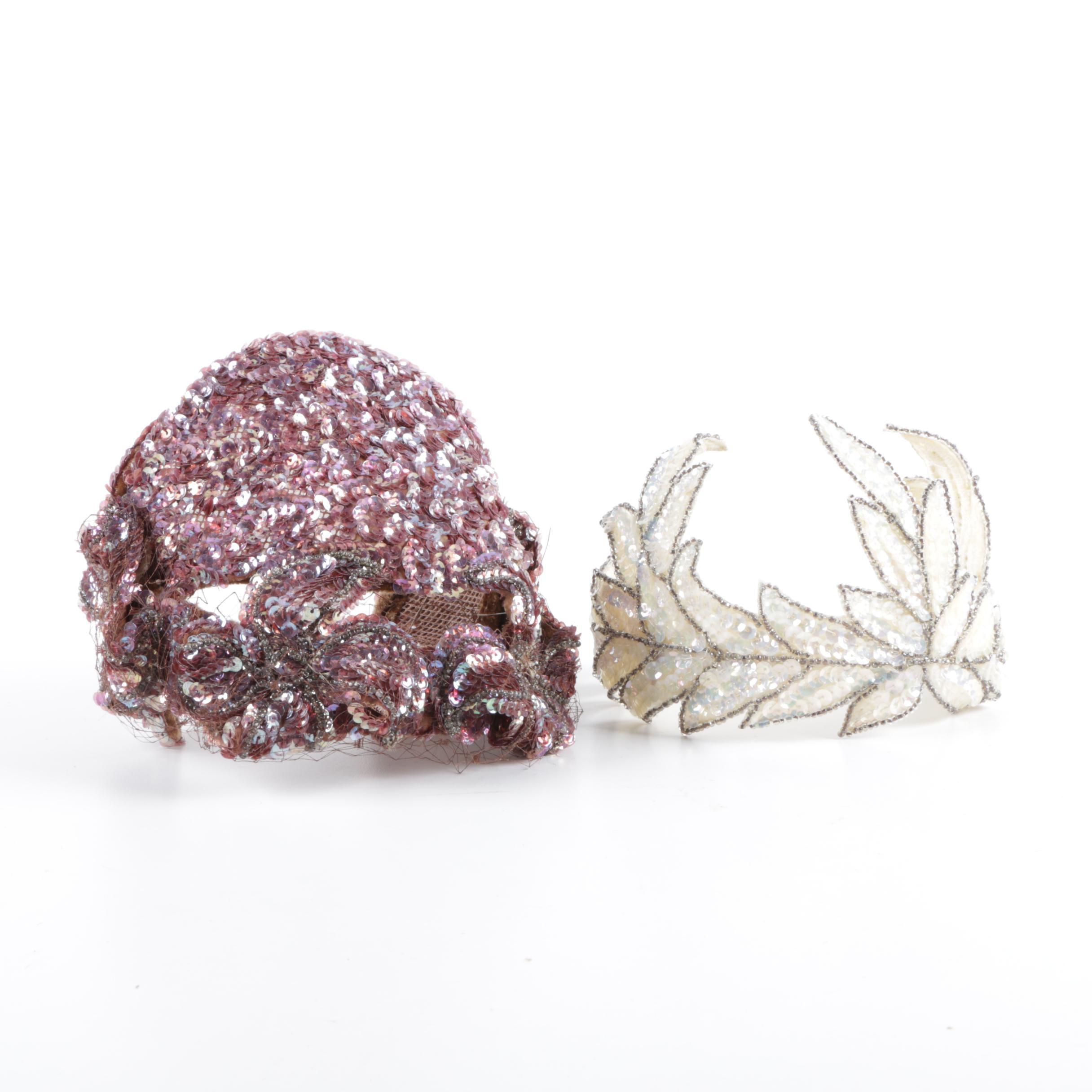 Vintage Embellished Evening Casque and Half Hats