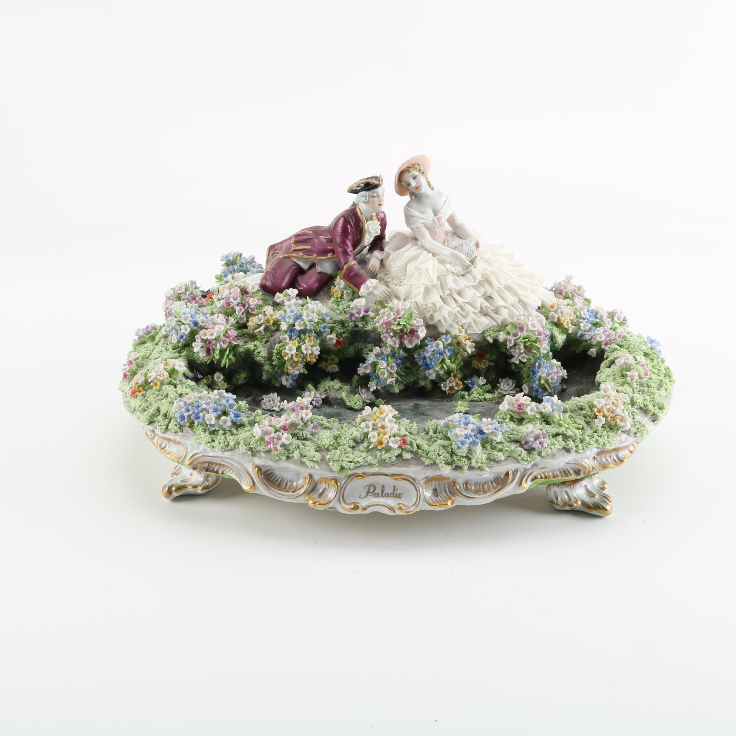 "18th Century Style ""Preludio"" Figurine of Man and Woman with Flower Bed"