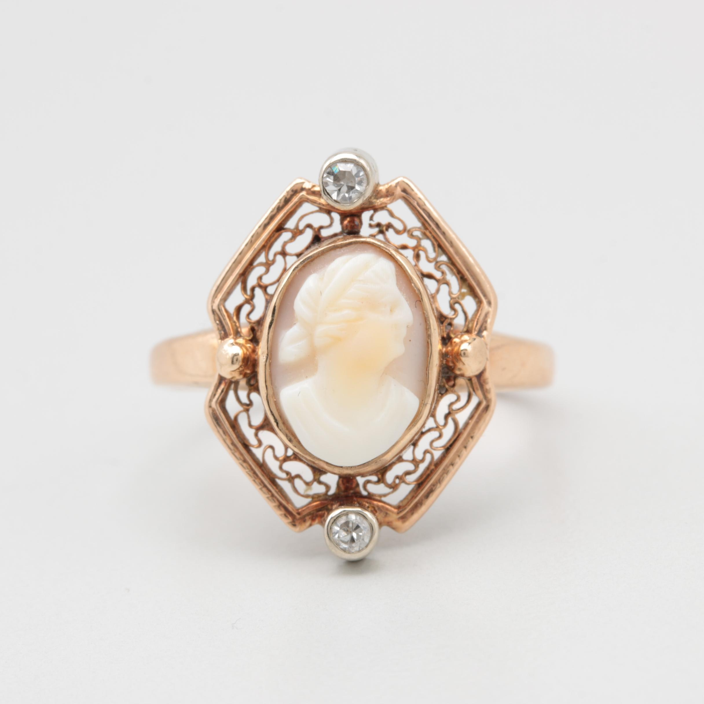 Vintage 10K Yellow Gold Diamond and Shell Cameo Ring