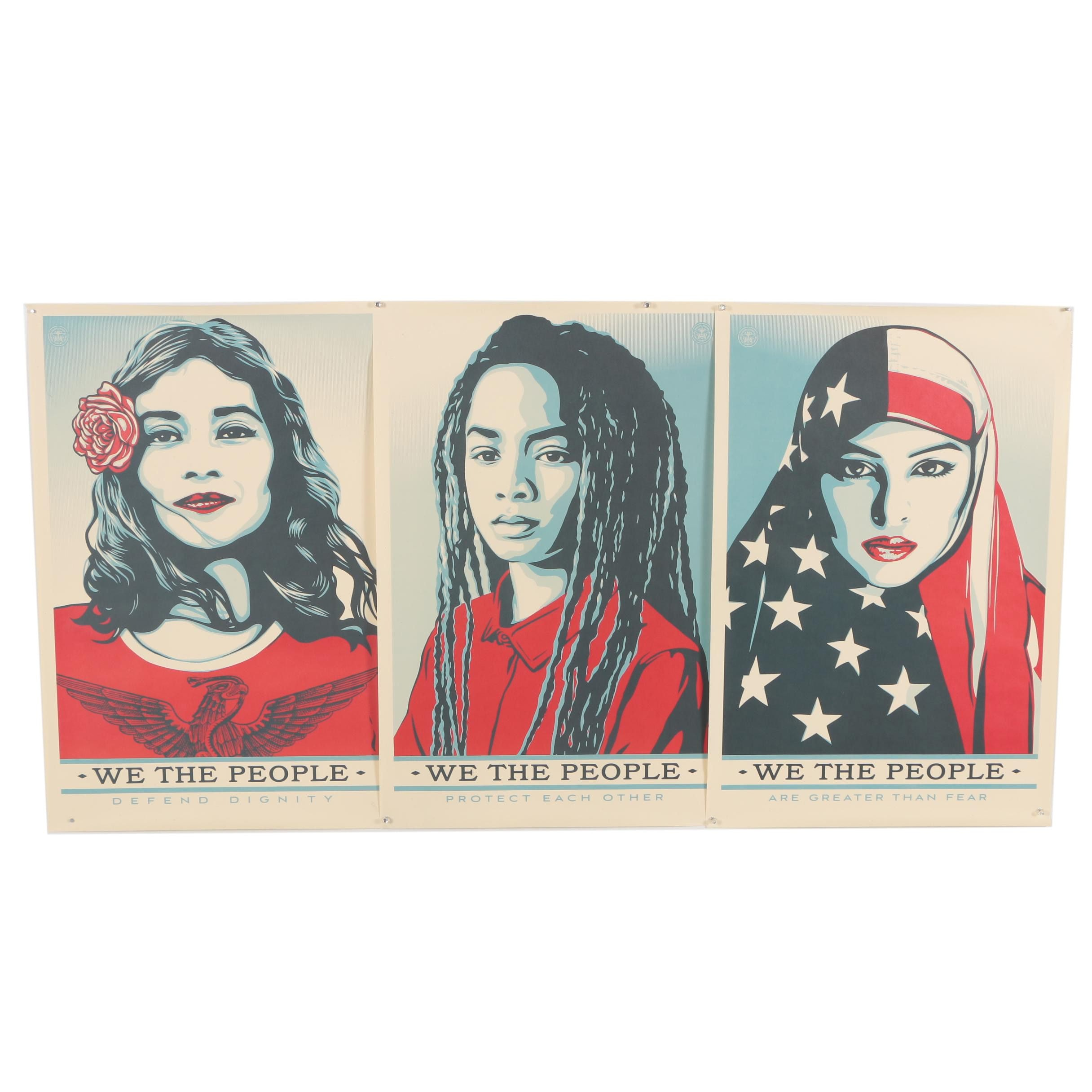 """Three Shepard Fairey Offset Prints """"We The People"""""""