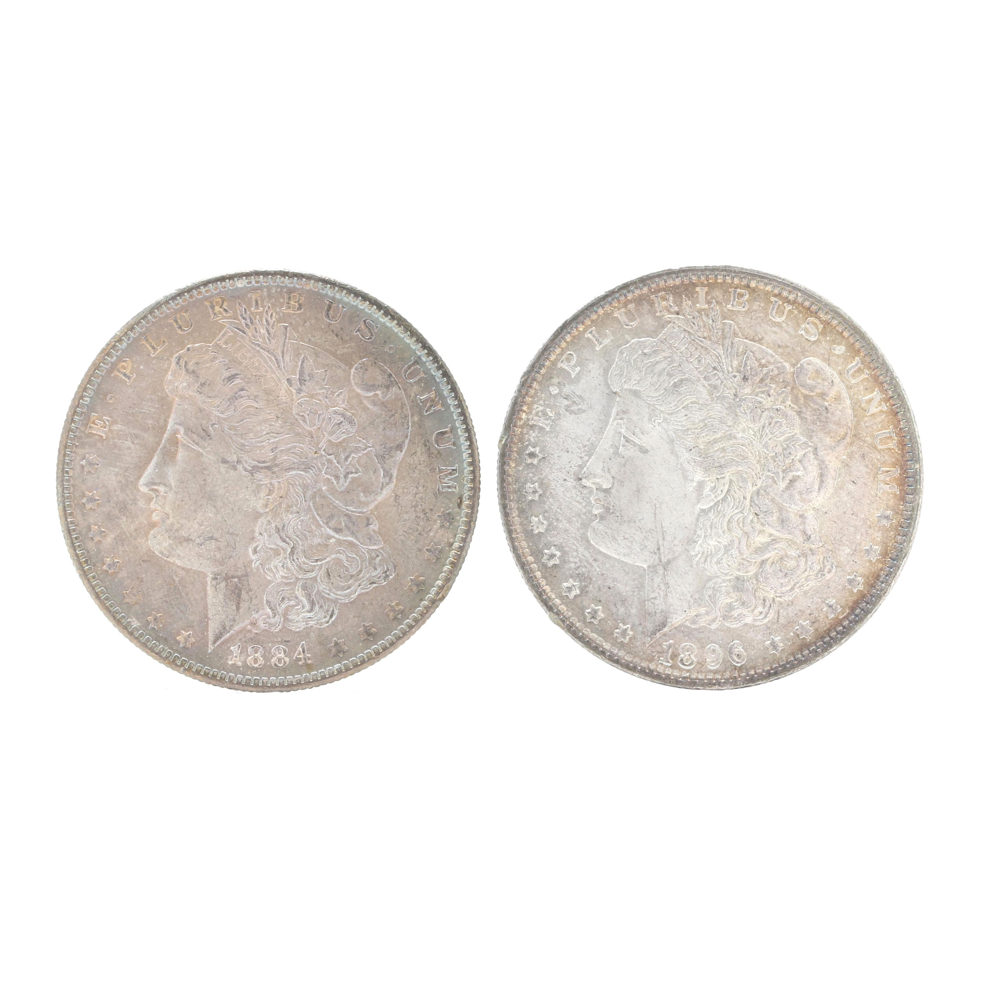1884-O and 1896 Morgan Silver Dollars