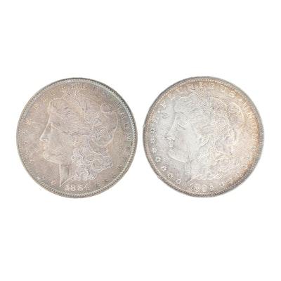 1884-O and 1896 Morgan Silver Dollars
