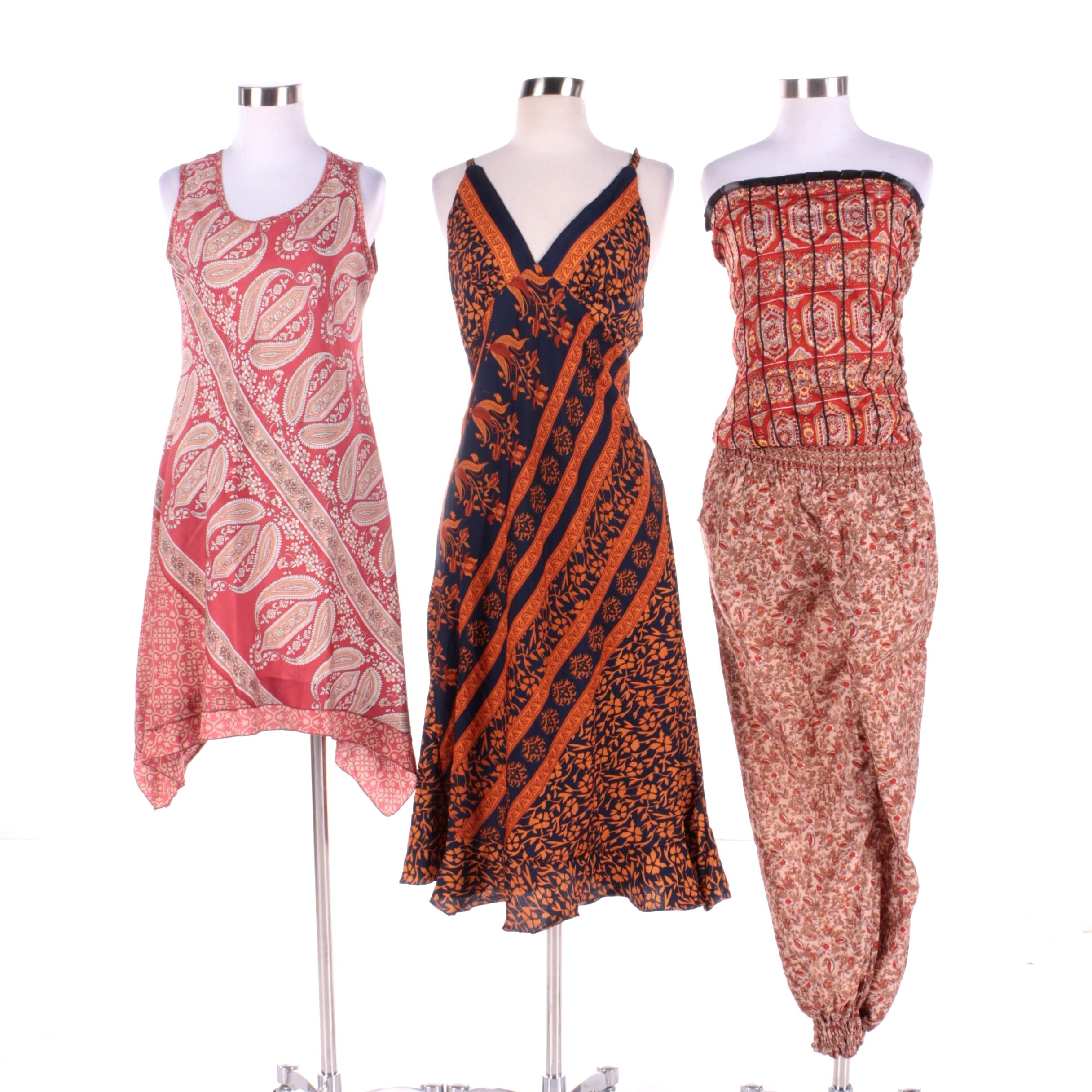 Women's Aller Simplement Dresses and Jumpsuit Made From Upcycled Vintage Saris