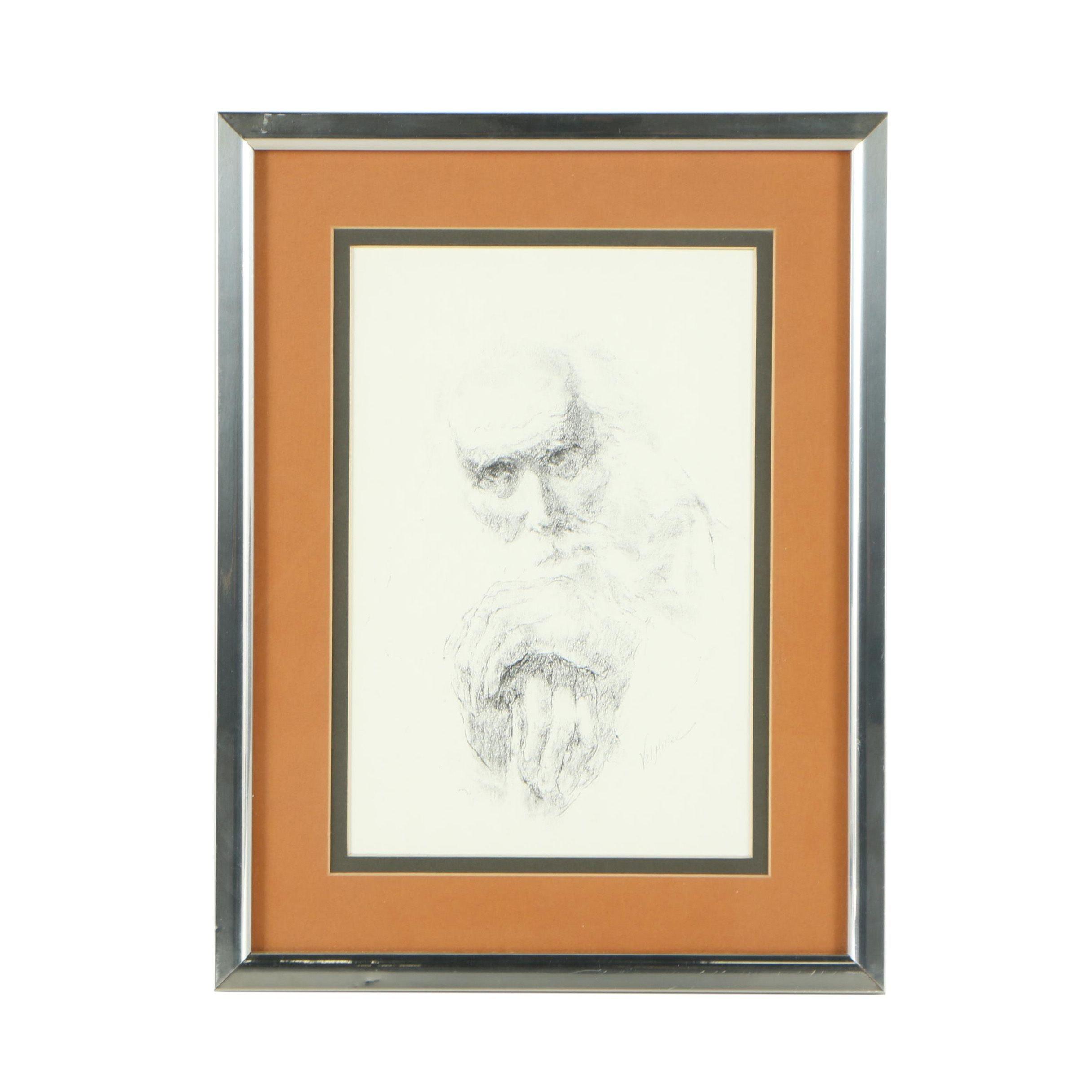 Halftone Print After Vel Miller Portrait of a Man