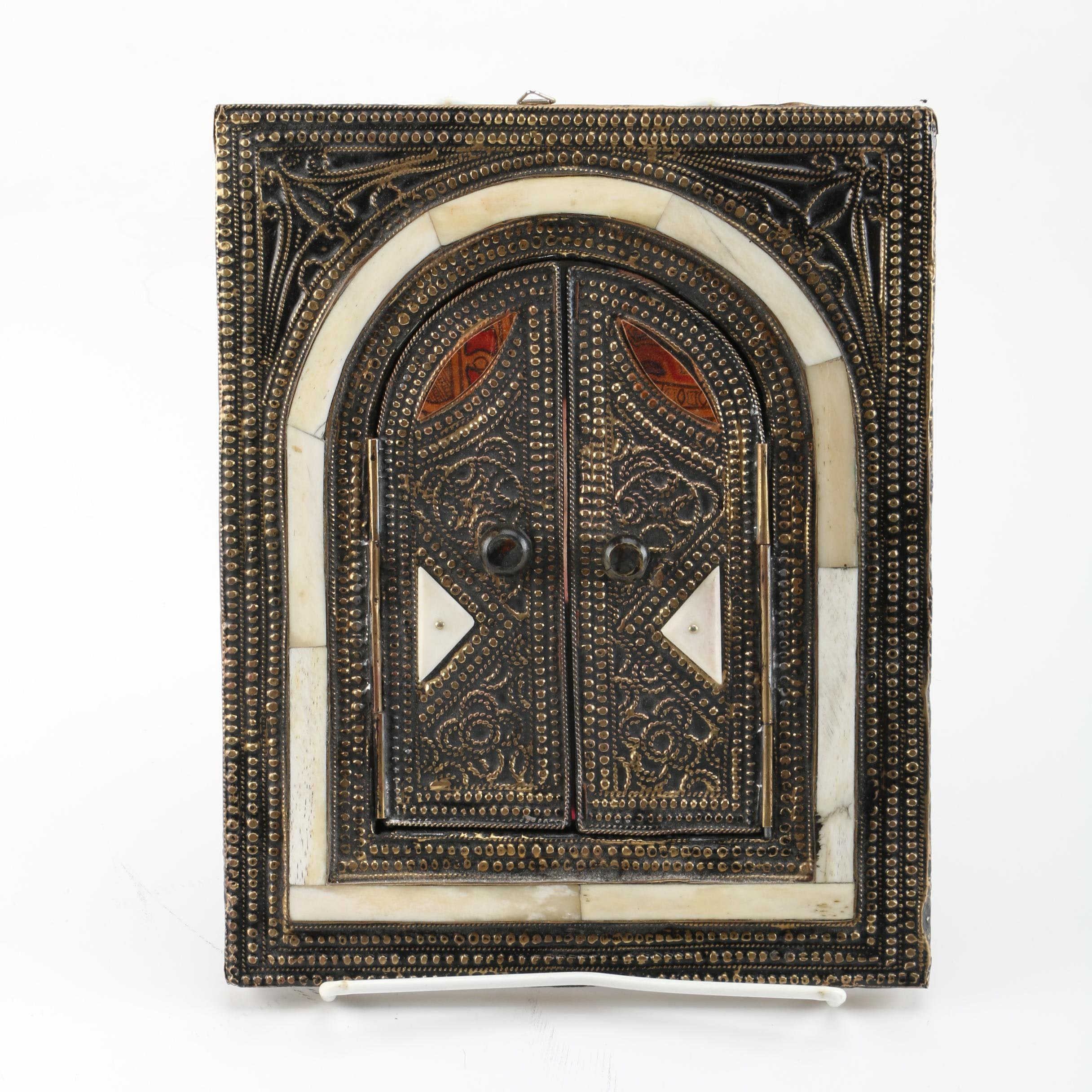 Wall Mirror with Bone and Metal Frame