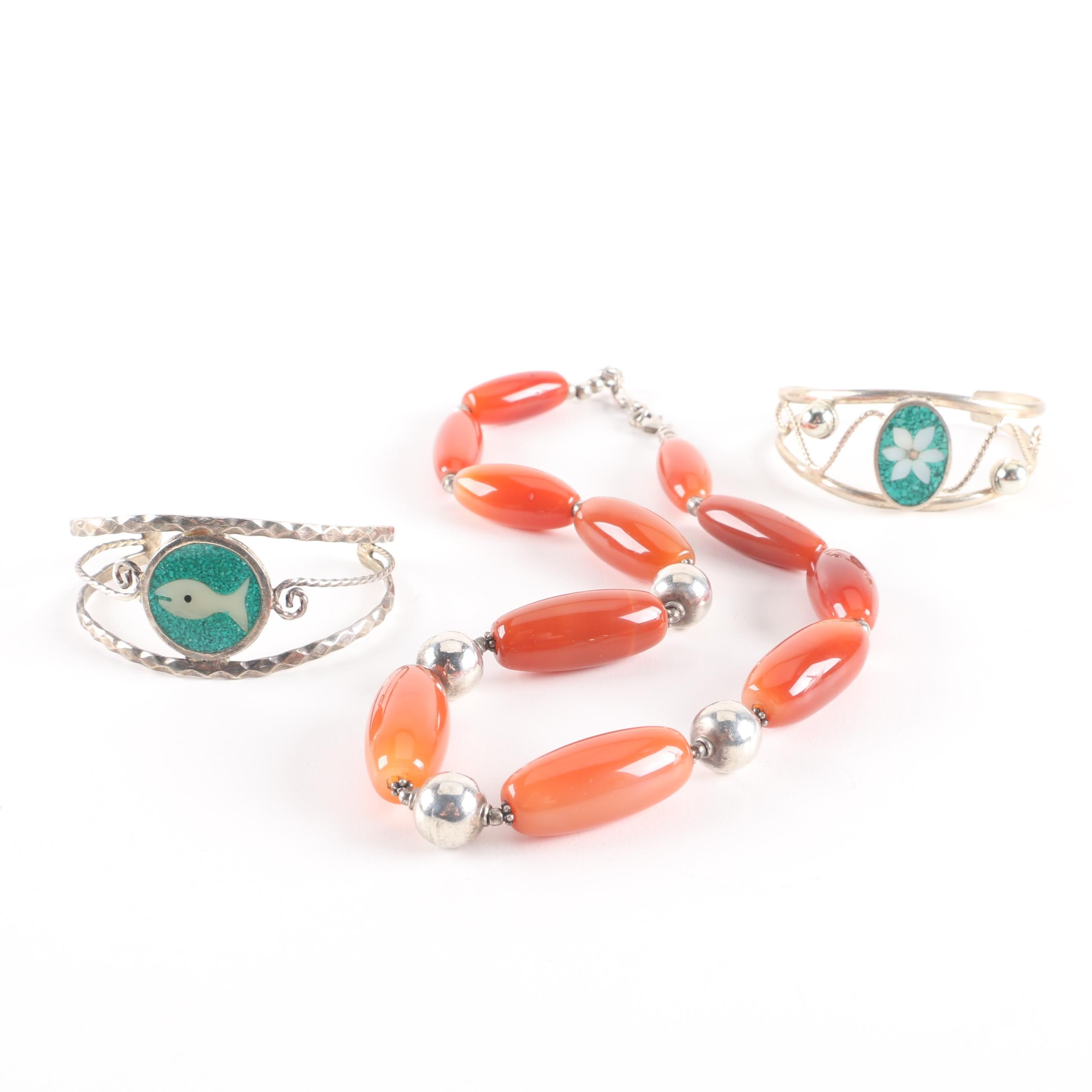 Assorted Gemstone Jewelry Including Mother Of Pearl and Sterling Silver