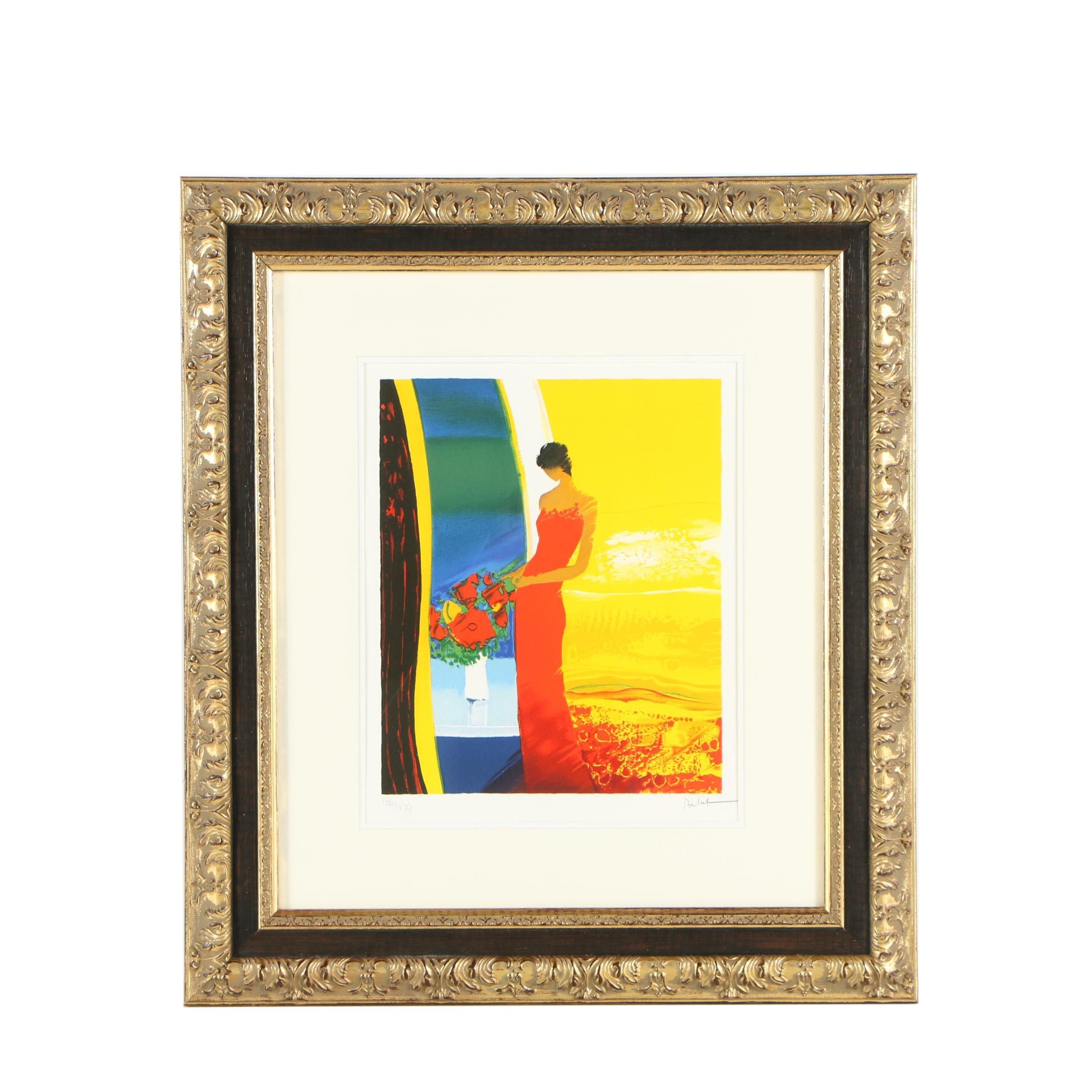 """Emile Bellet Color Lithograph """"Parfum de Femme"""""""