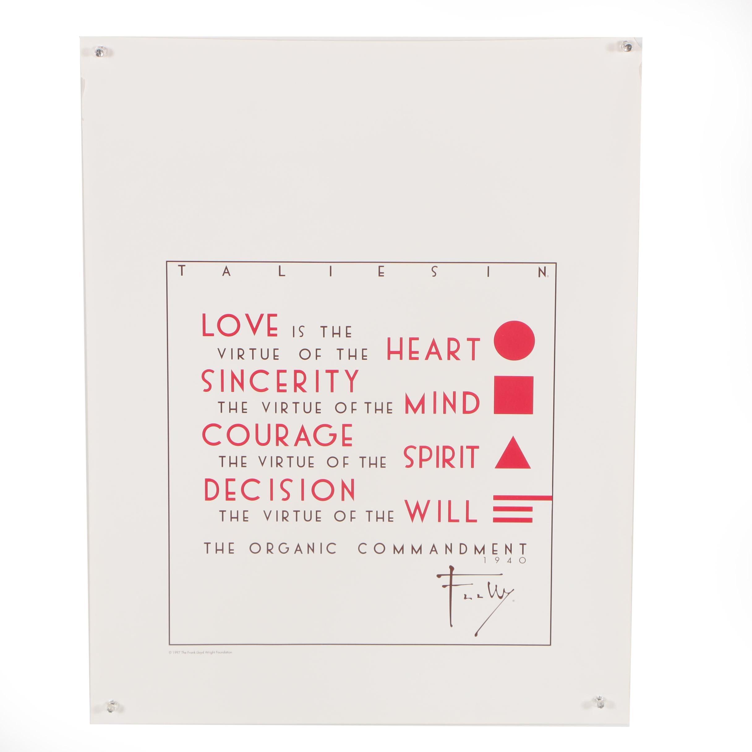 "Frank Lloyd Wright ""Taliesin"" Exhibition Poster"