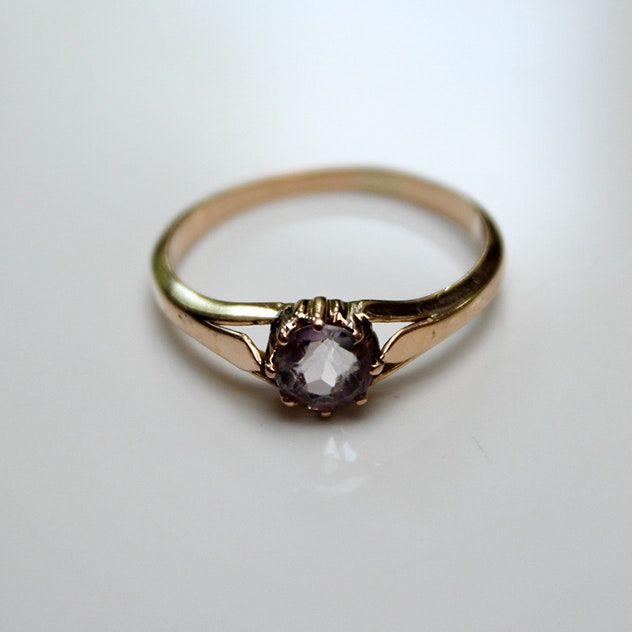 14K Yellow Gold Amethyst Vintage Ring
