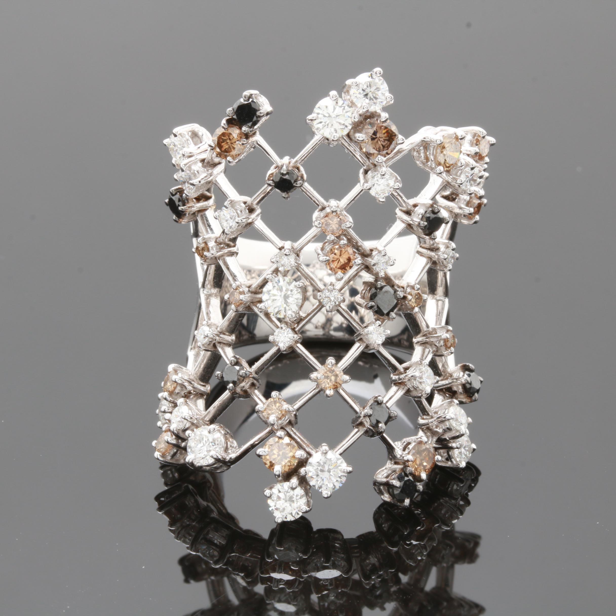 18K White Gold 2.20 CTW Diamond Statement Ring