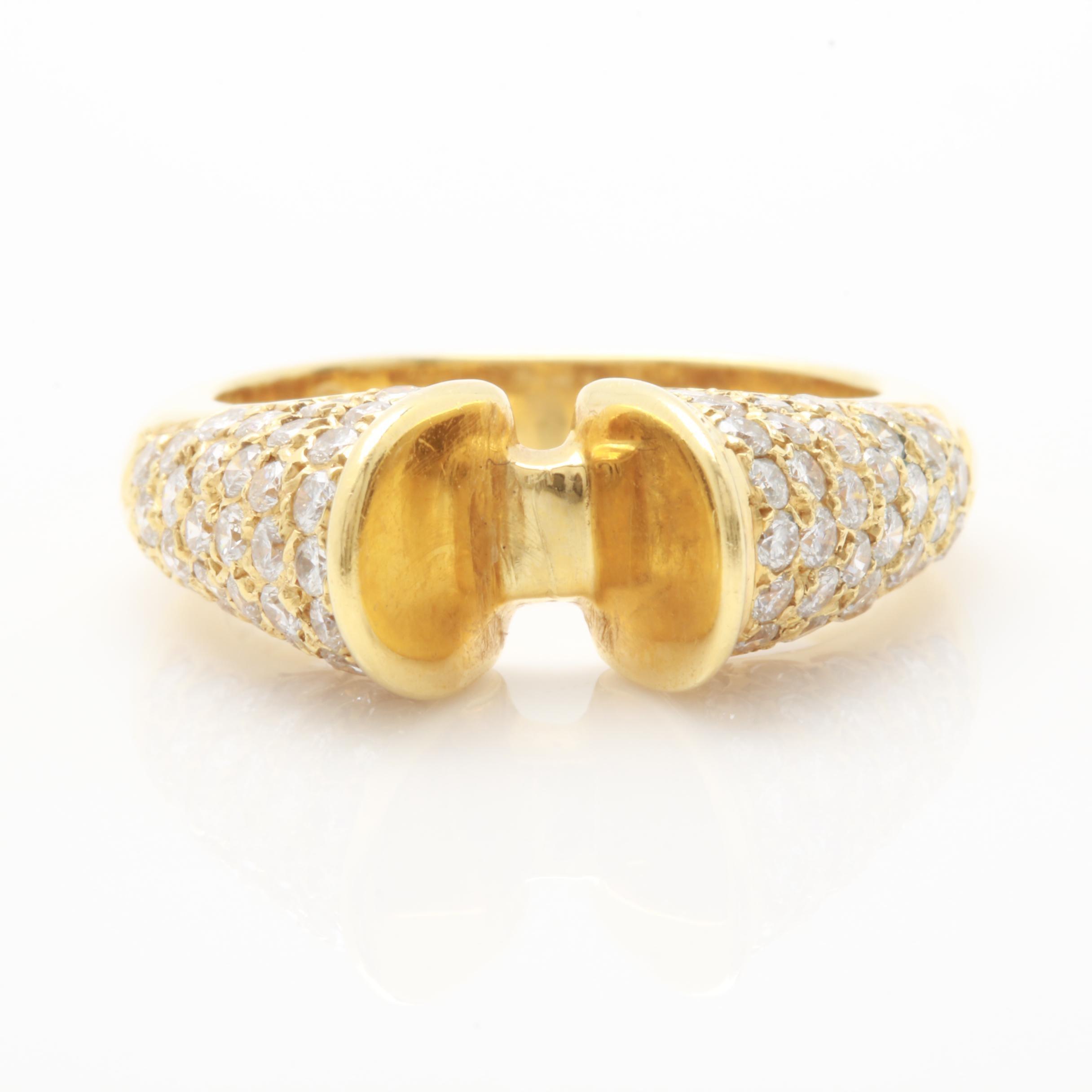 18K Yellow Gold 1.10 CTW Diamond Semi Mount Ring