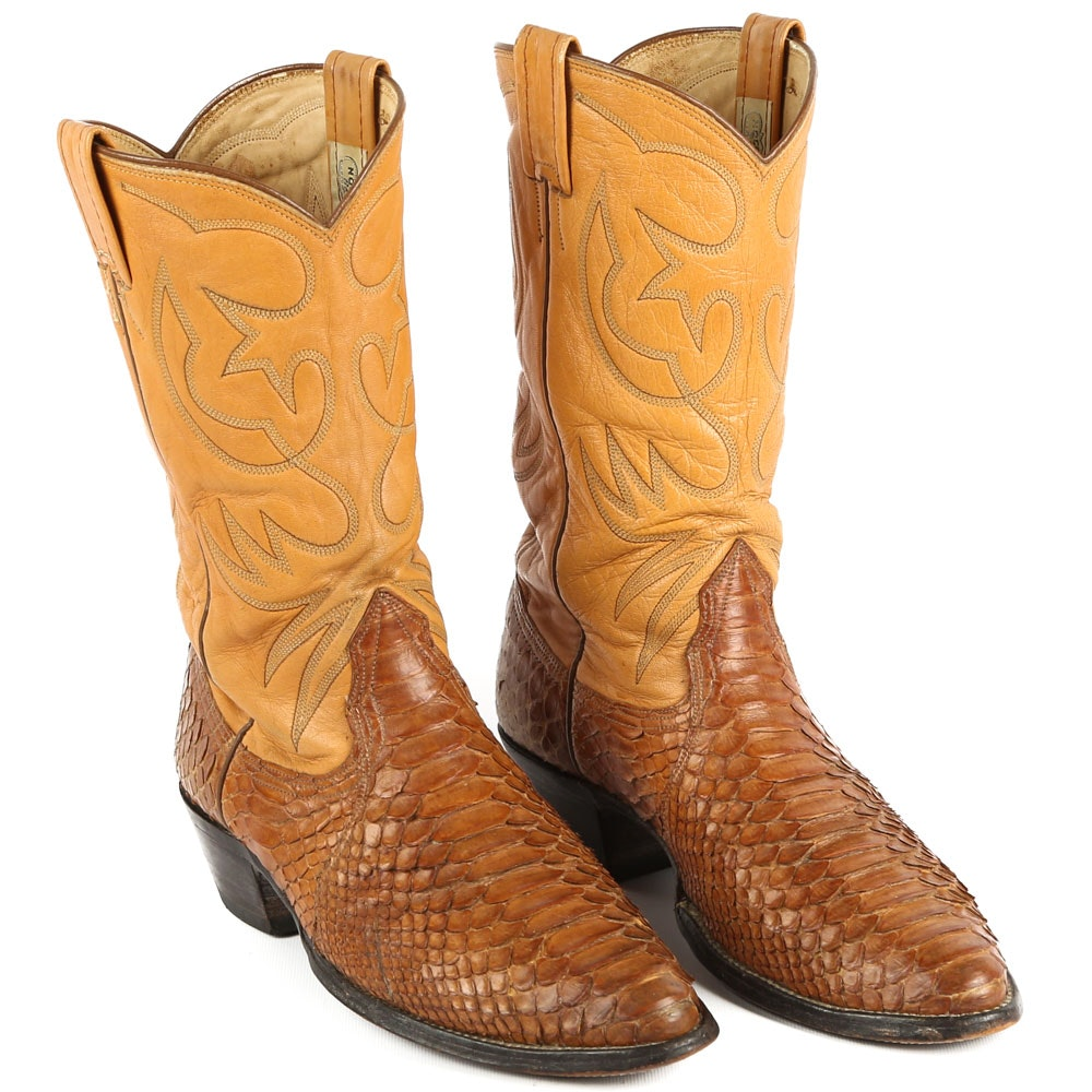 Men's Dyed Python and Leather Cowboy Boots by Nocona