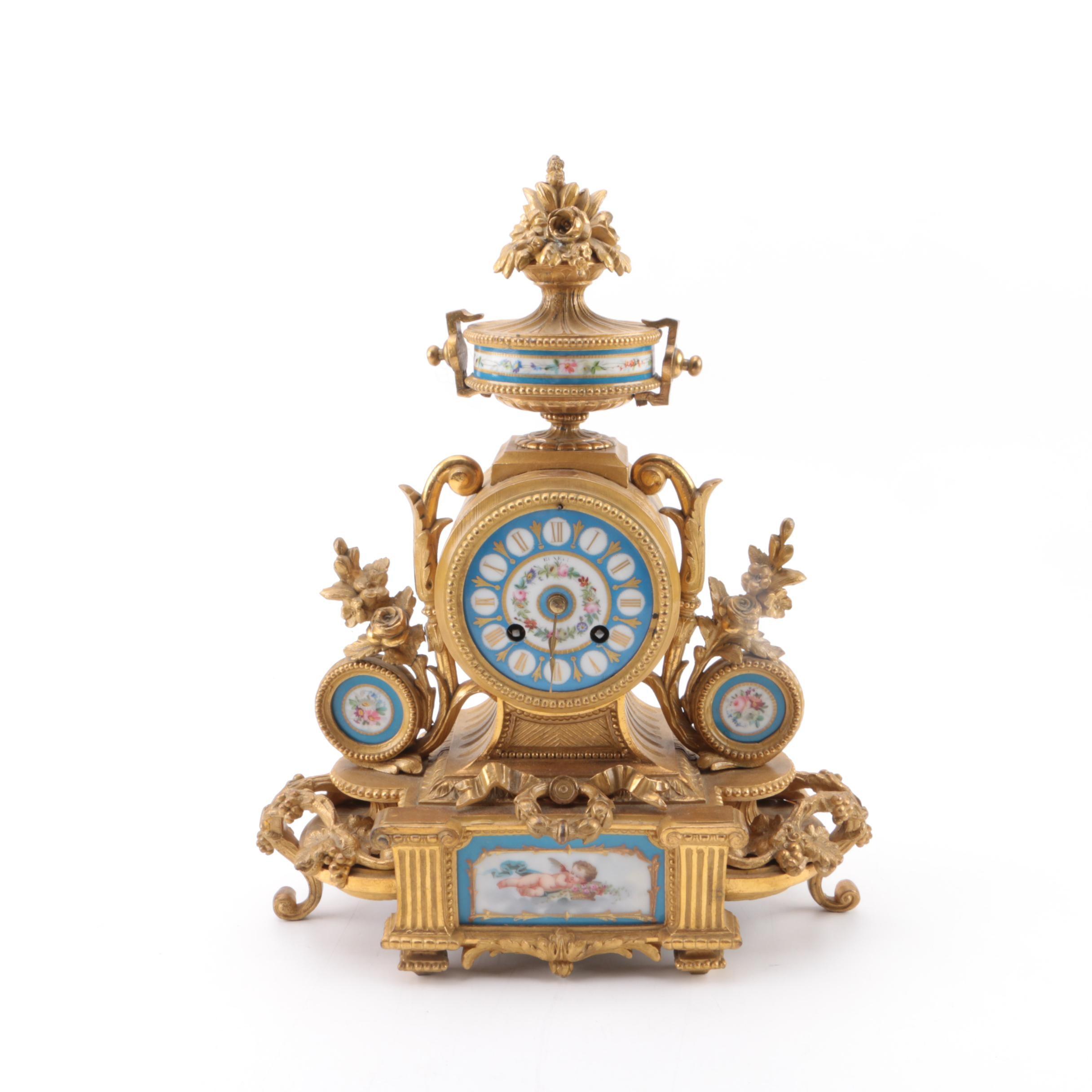 Antique Bronze P.H. Mourey Bronze D'ore Mantel Clock