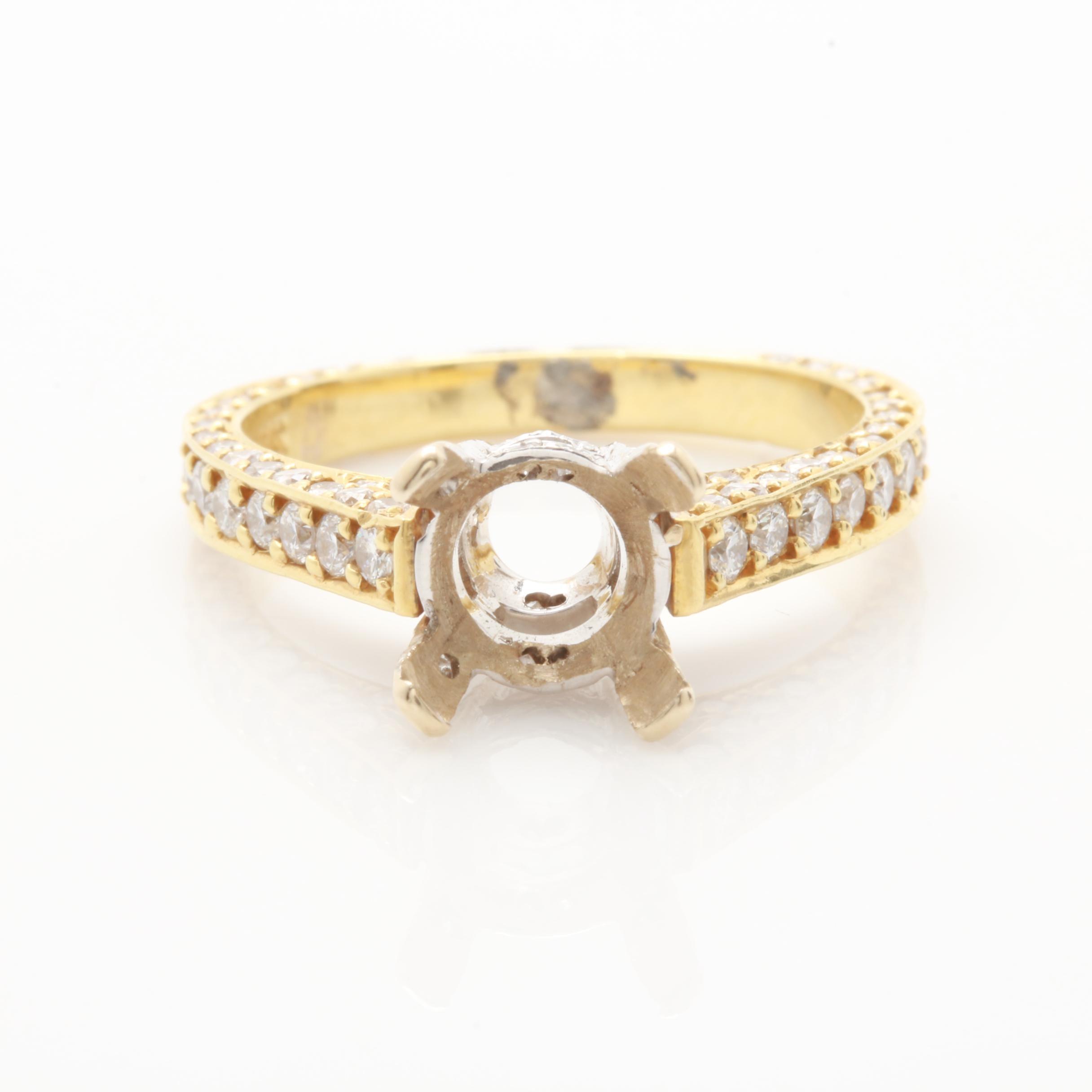 18K Yellow Gold 1.24 CTW Diamond Ring Mounting