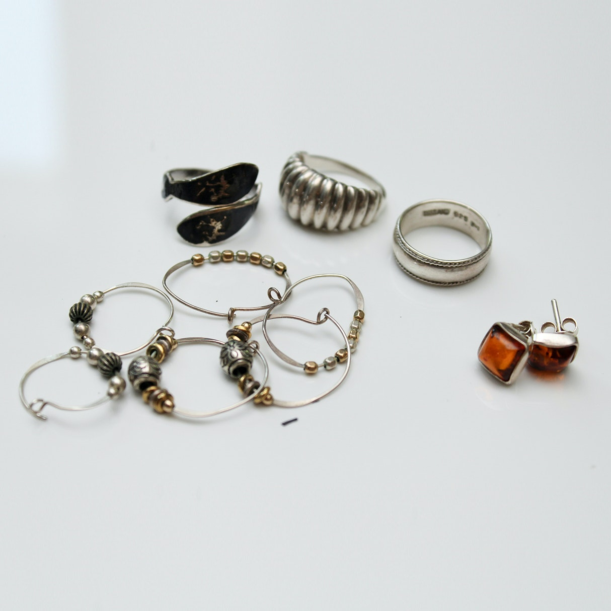 Sterling Silver, Amber and Niello Enamel Jewelry