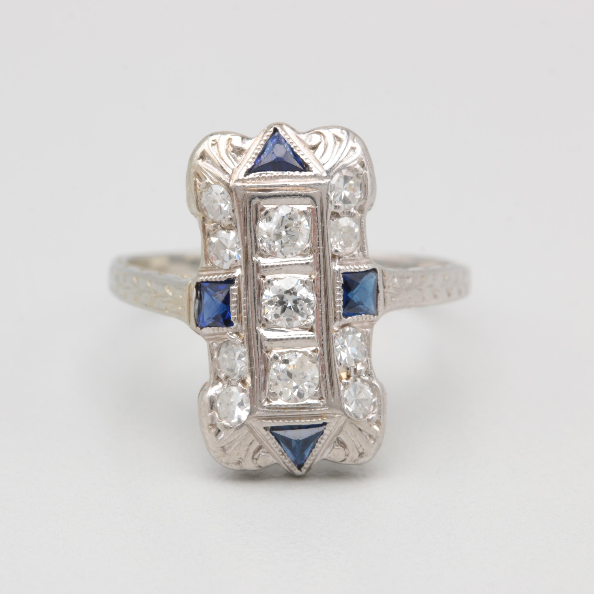 18K White Gold Synthetic Blue Sapphire and Diamond Ring