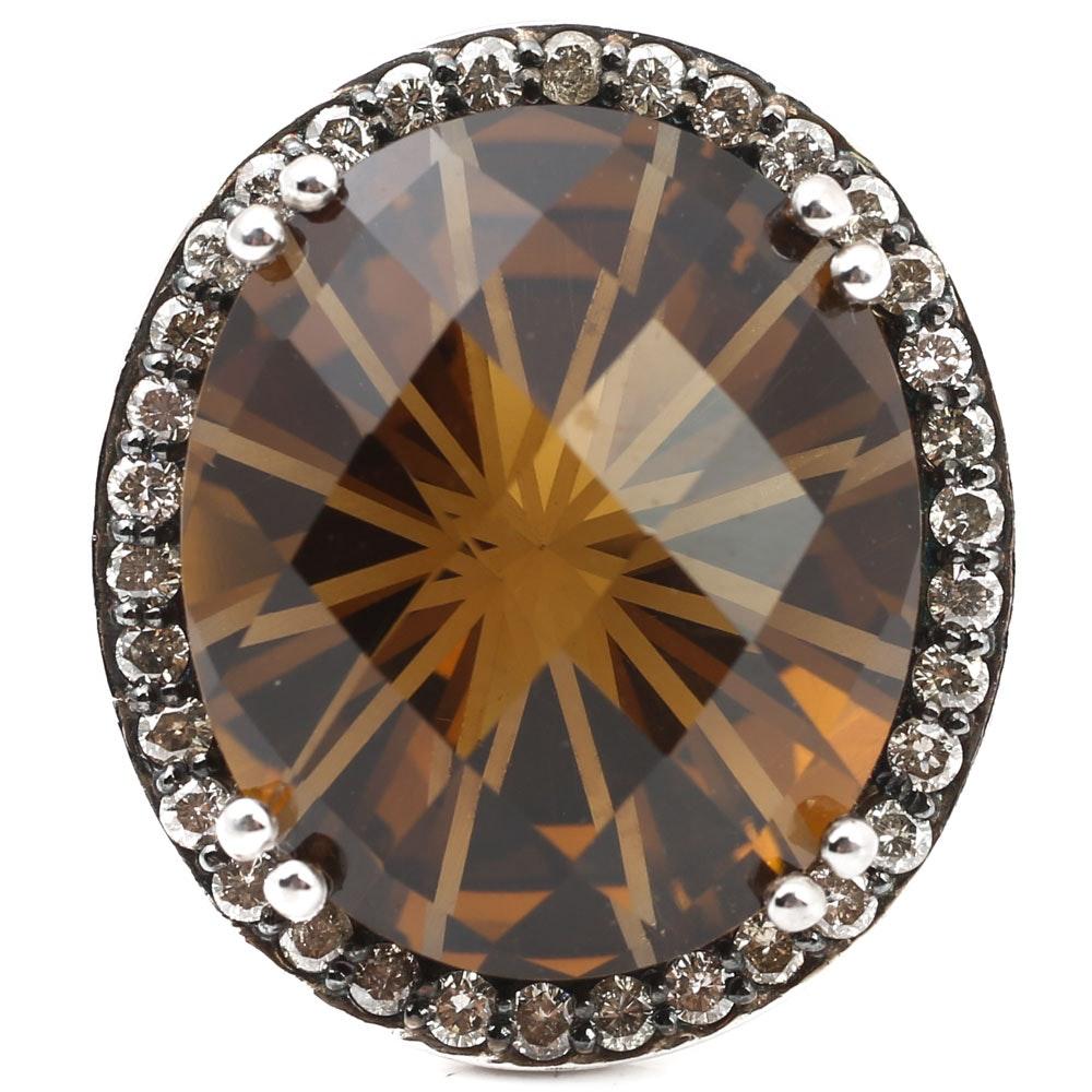 Sterling Silver 22.00 CT Cinnamon Quartz and Diamond Halo Ring