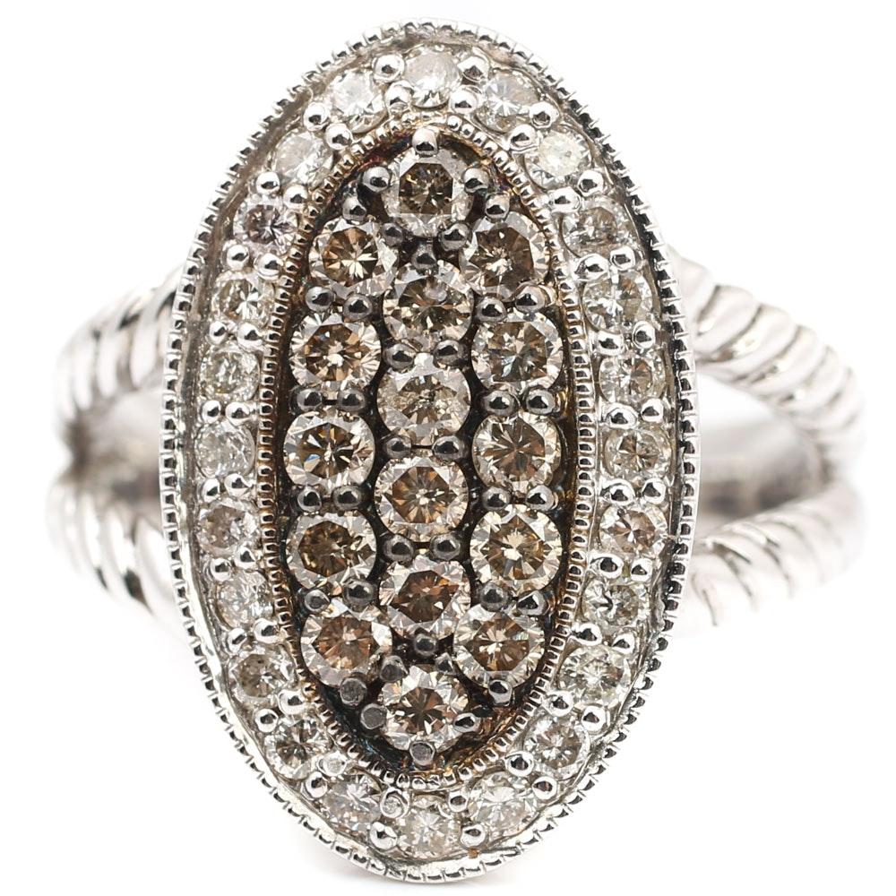 Sterling Silver Diamond Frame Ring