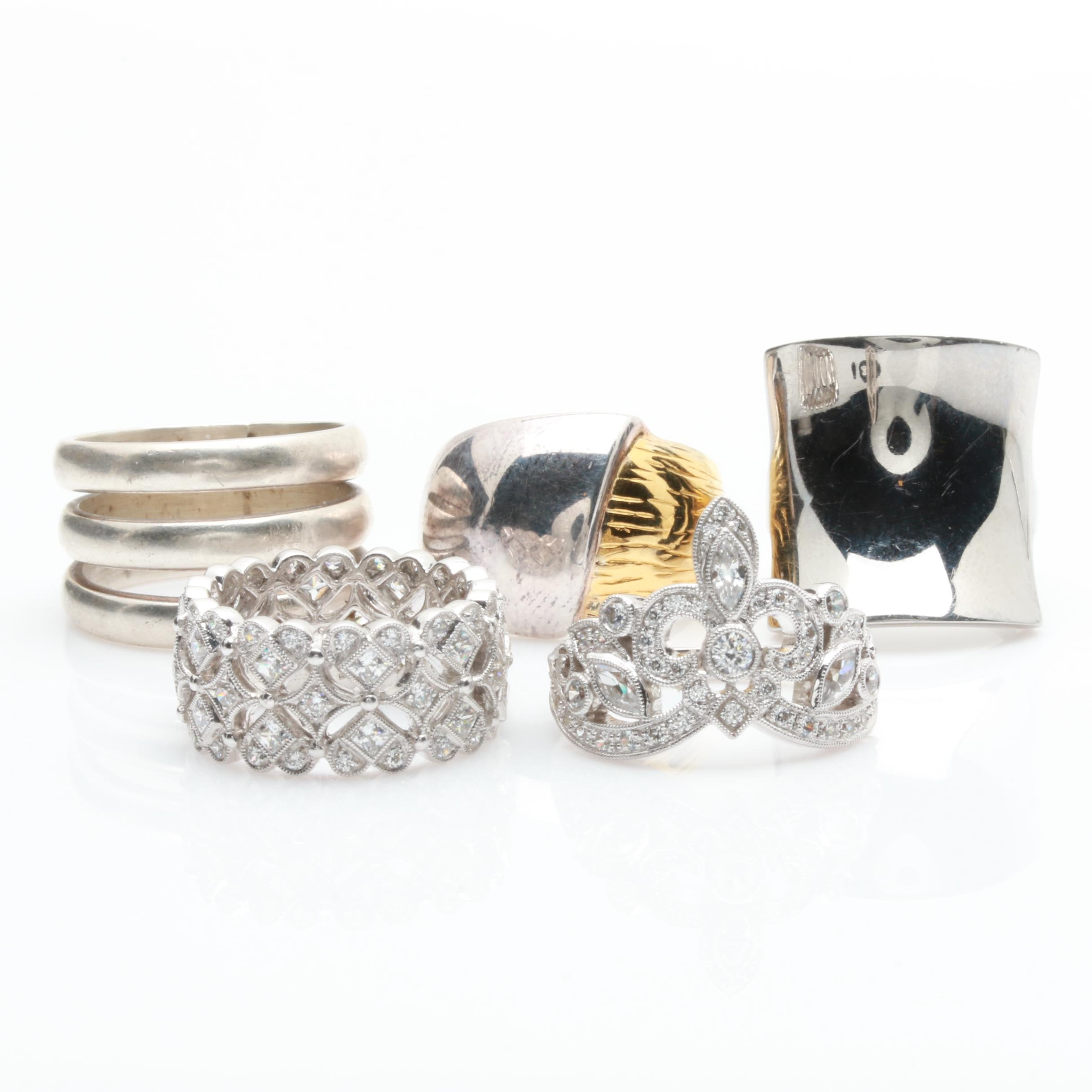 Sterling Silver Cubic Zirconia Rings Including Stainless Steel and Milor