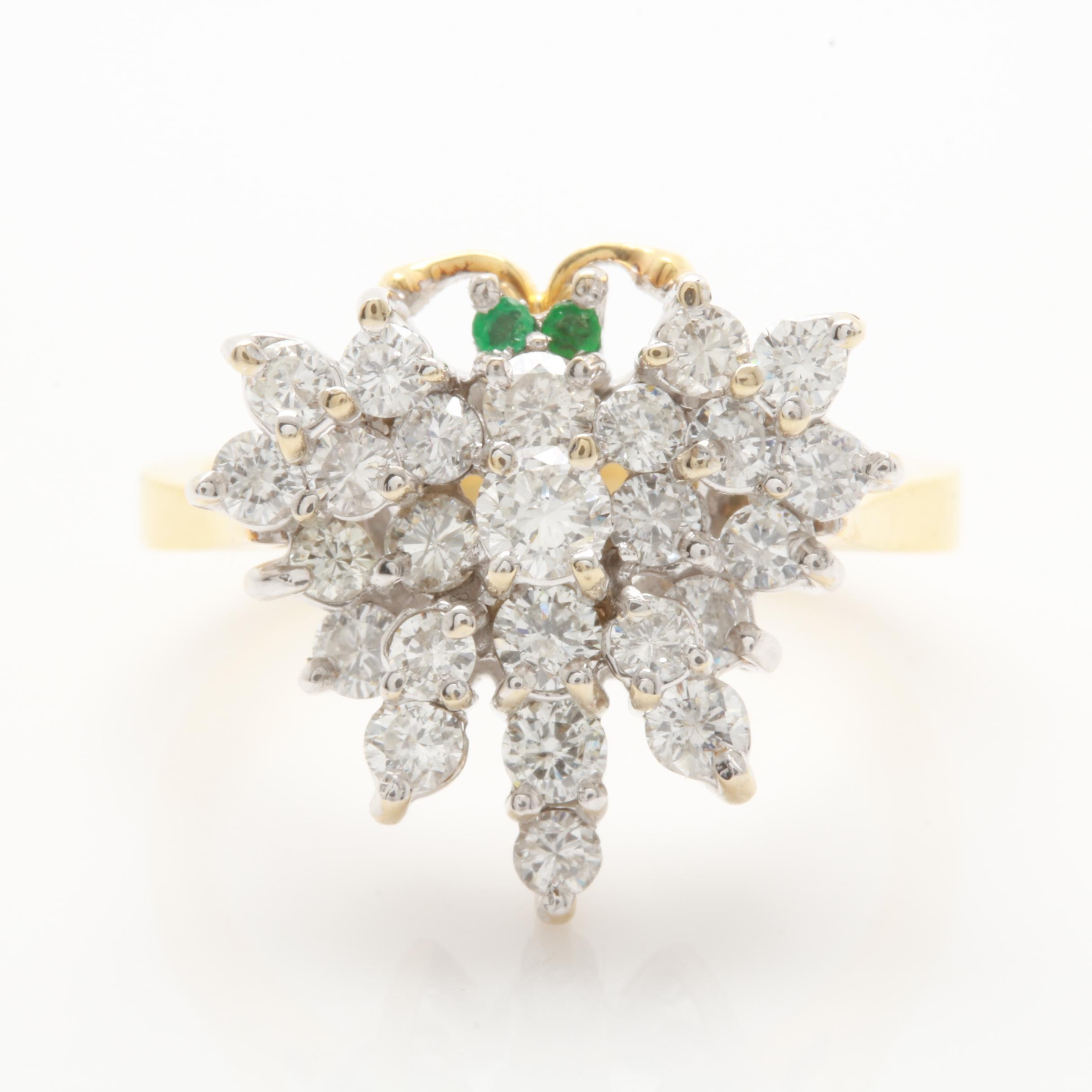 18K Yellow Gold 1.00 CTW Diamond and Emerald Butterfly Ring