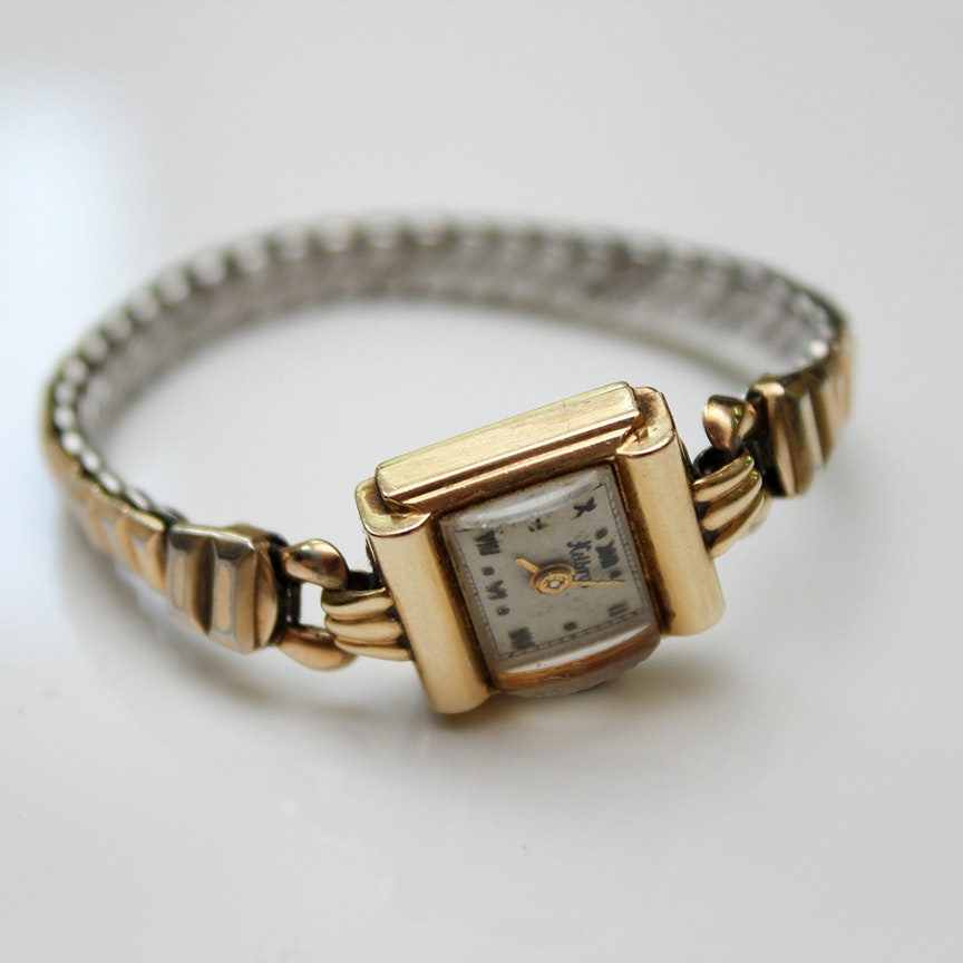 14K Yellow Gold Vintage Helbros Wristwatch