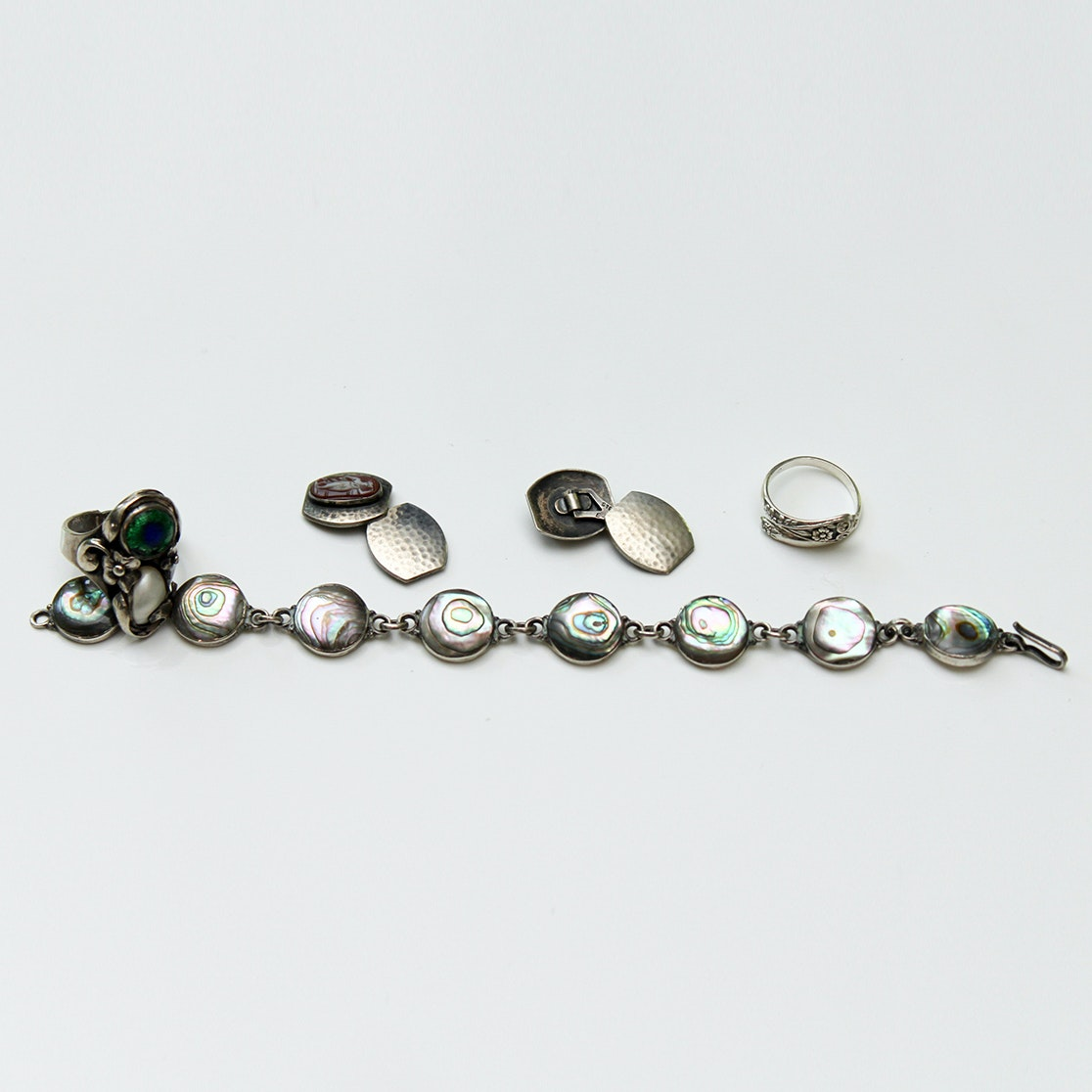 Sterling Silver, Abalone and Agate Bracelets, Ring and Cufflinks