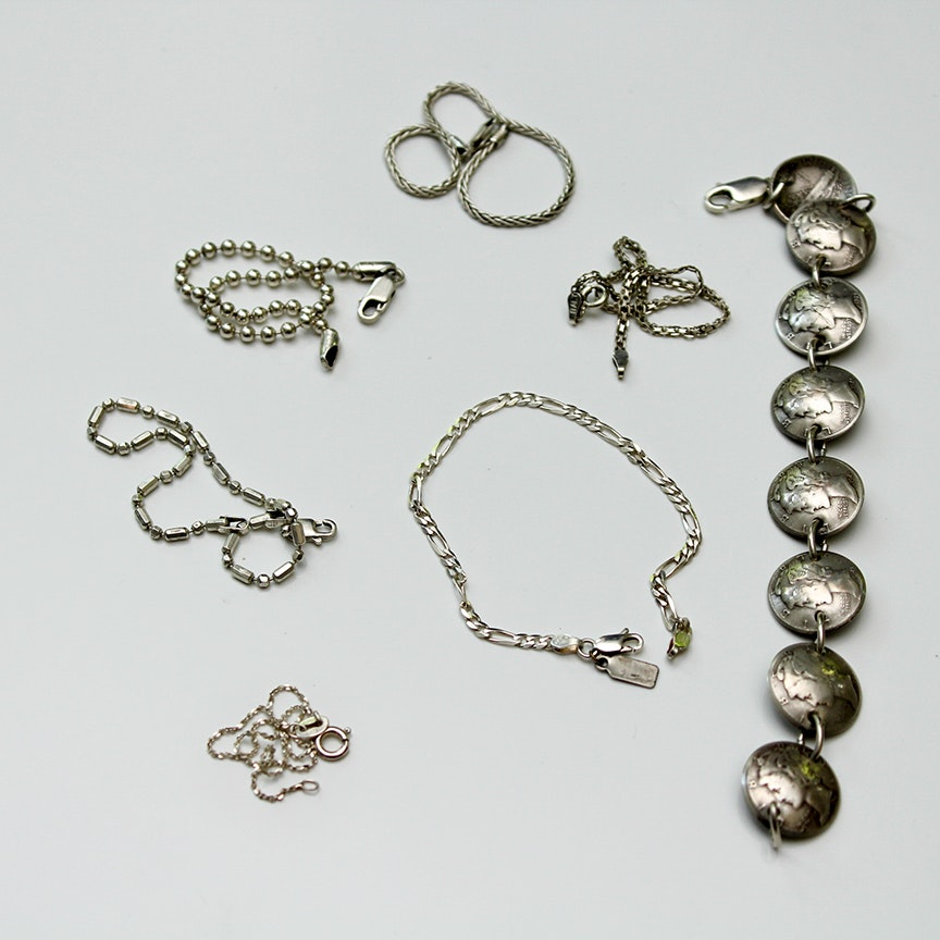 Sterling Silver Coin and Chain Bracelets